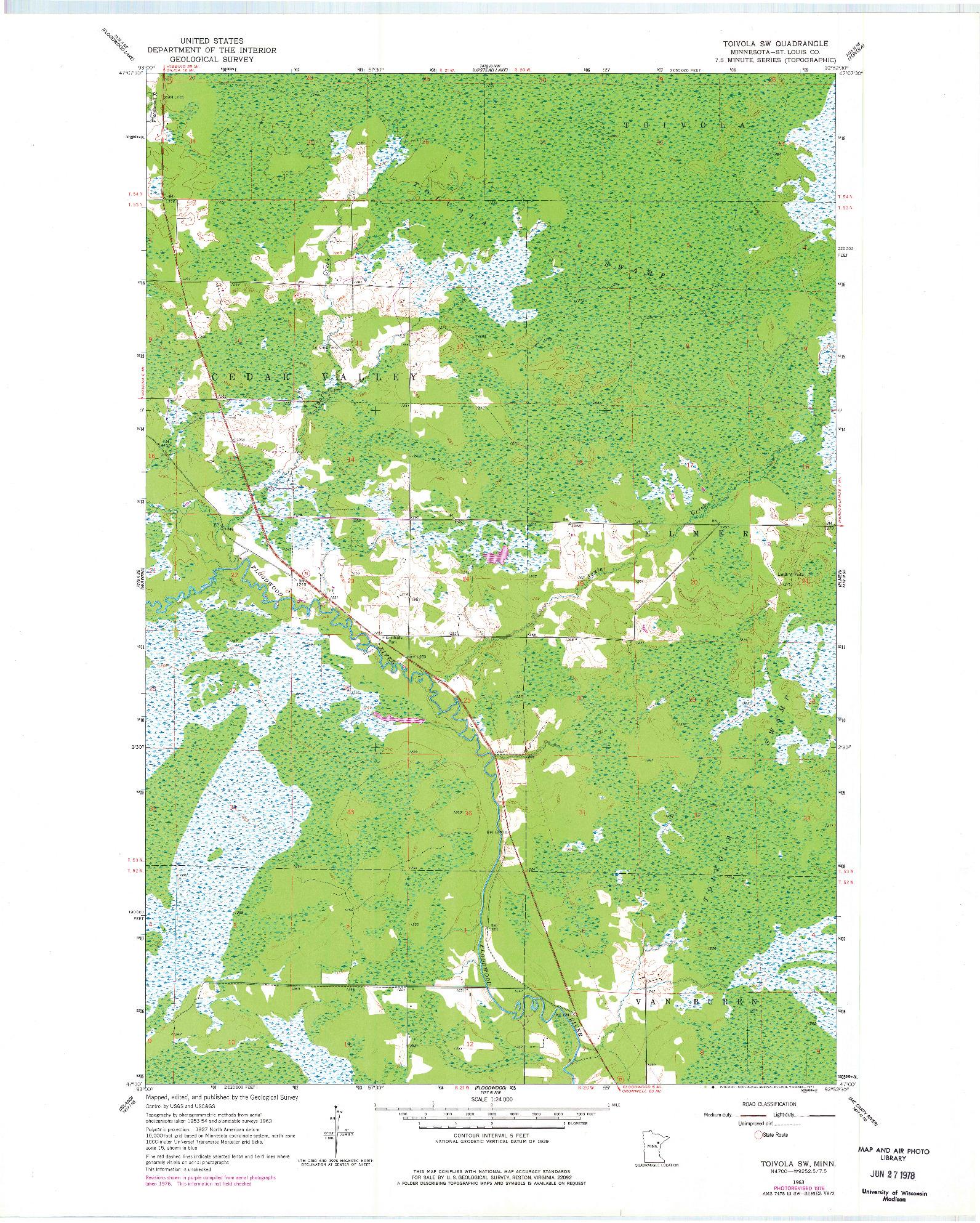 USGS 1:24000-SCALE QUADRANGLE FOR TOIVOLA SW, MN 1963