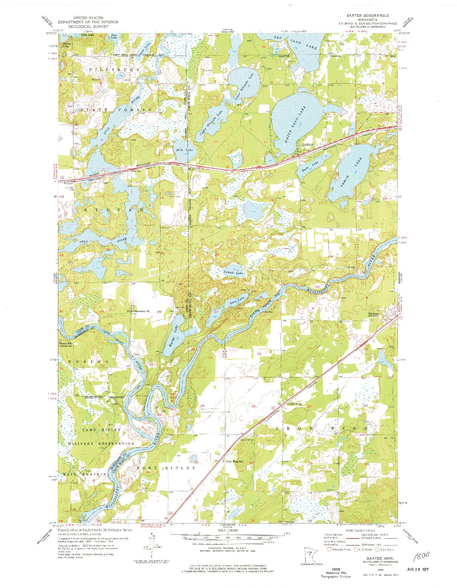 USGS 1:24000-SCALE QUADRANGLE FOR BAXTER, MN 1954