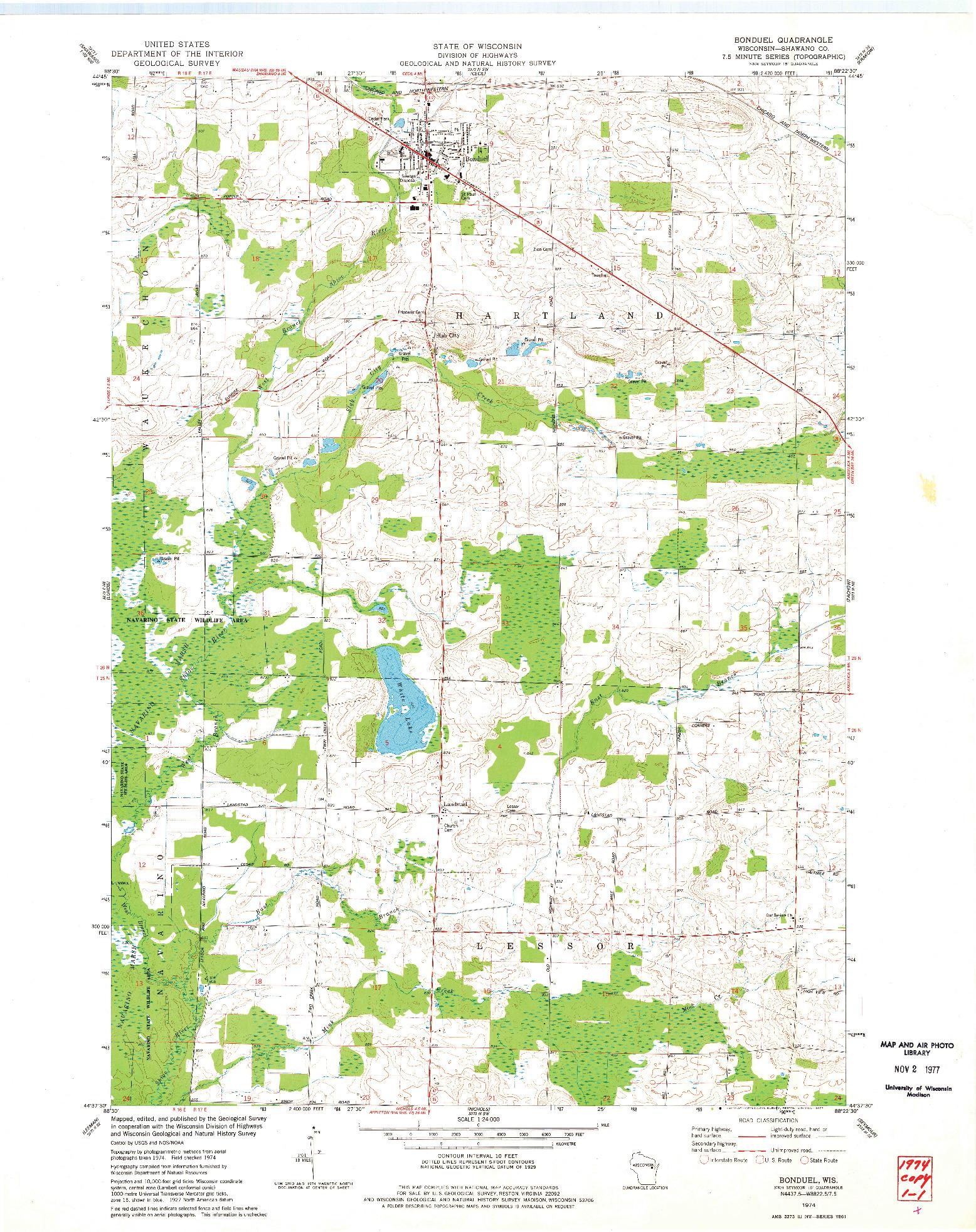 USGS 1:24000-SCALE QUADRANGLE FOR BONDUEL, WI 1974