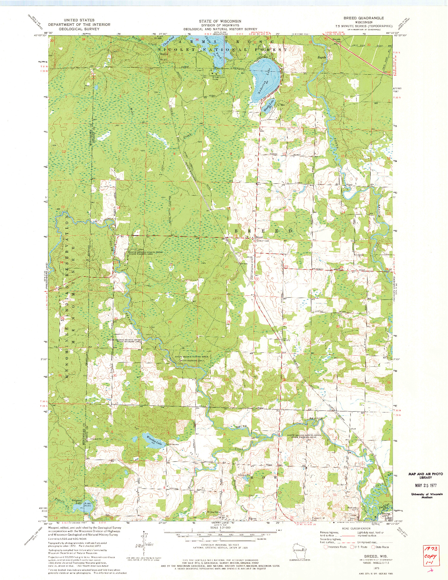 USGS 1:24000-SCALE QUADRANGLE FOR BREED, WI 1973
