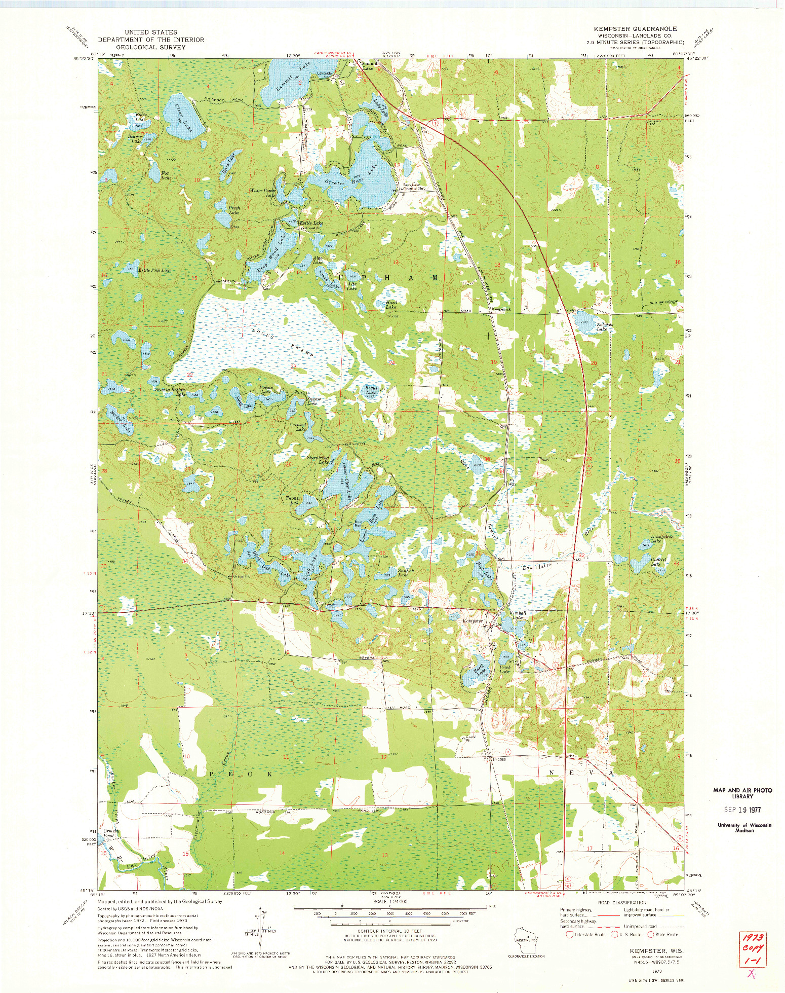 USGS 1:24000-SCALE QUADRANGLE FOR KEMPSTER, WI 1973