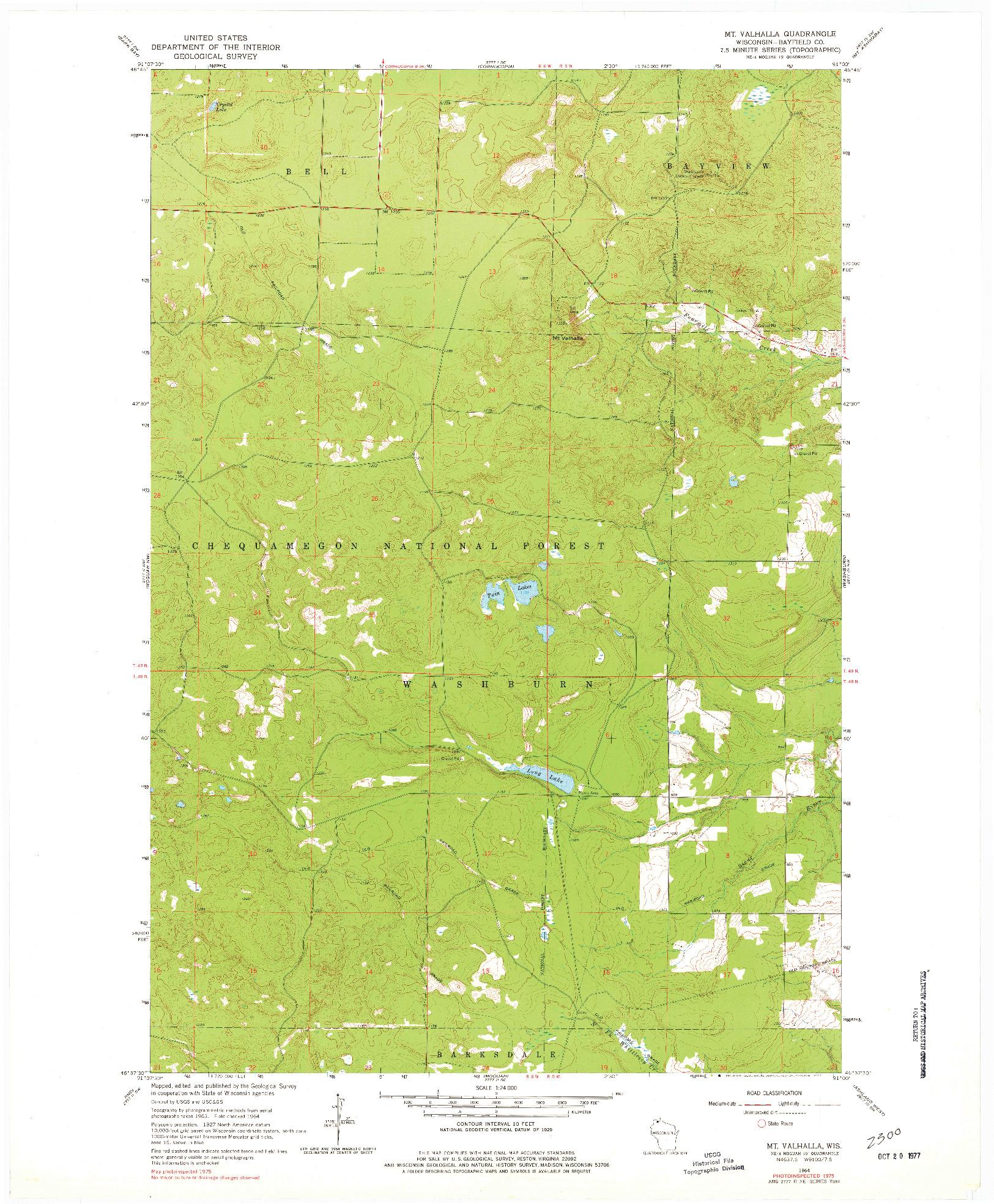 USGS 1:24000-SCALE QUADRANGLE FOR MT. VALHALLA, WI 1964