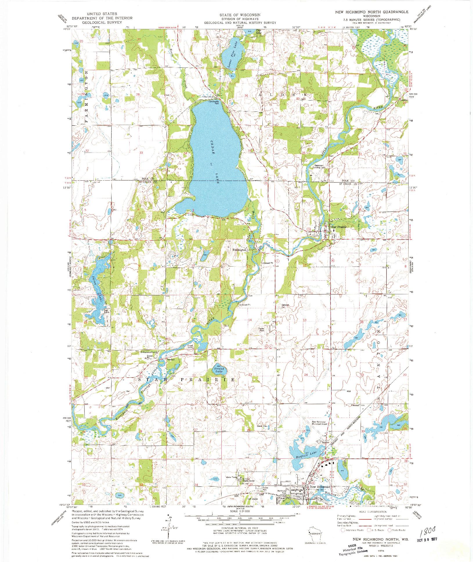 USGS 1:24000-SCALE QUADRANGLE FOR NEW RICHMOND NORTH, WI 1974