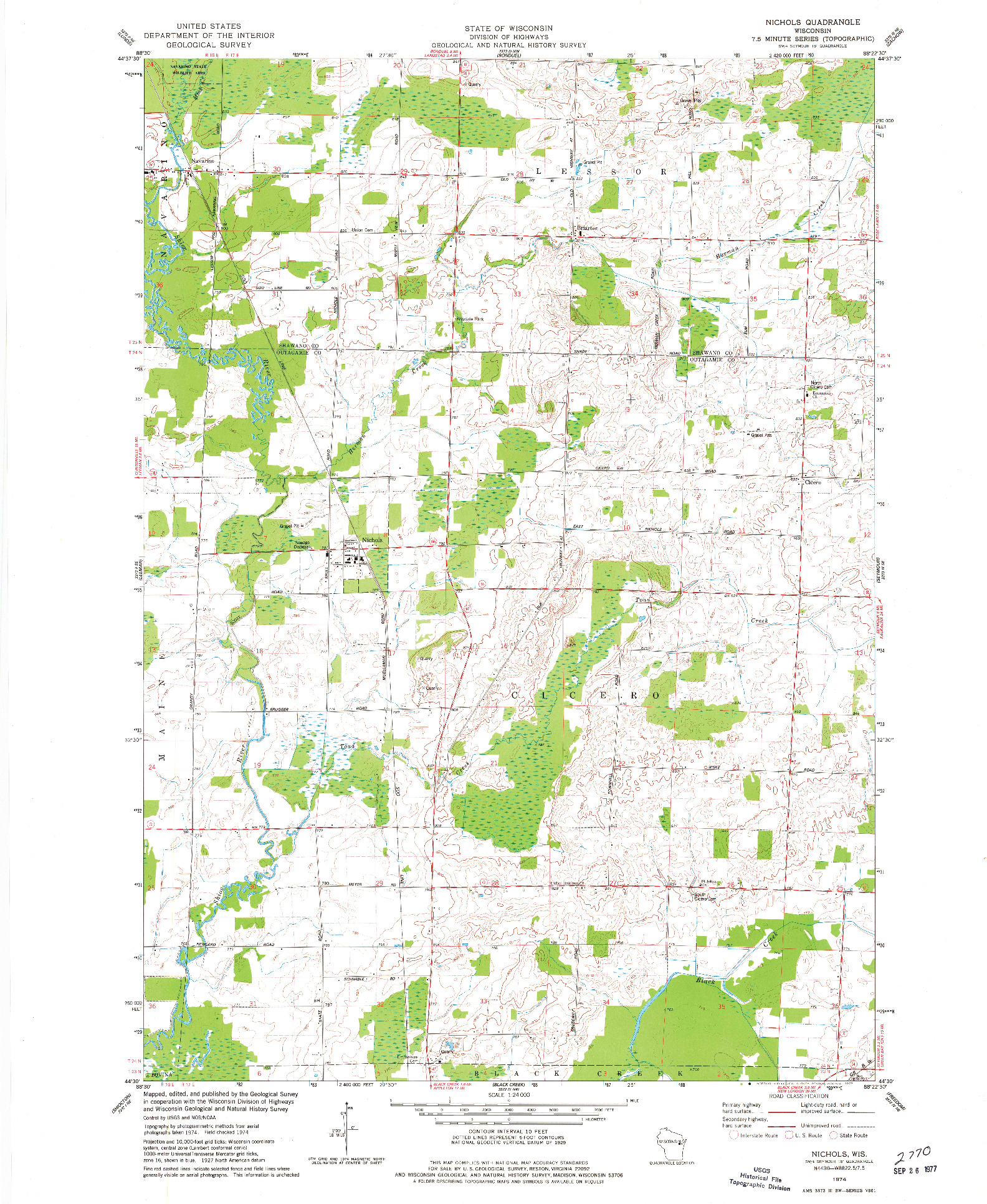 USGS 1:24000-SCALE QUADRANGLE FOR NICHOLS, WI 1974