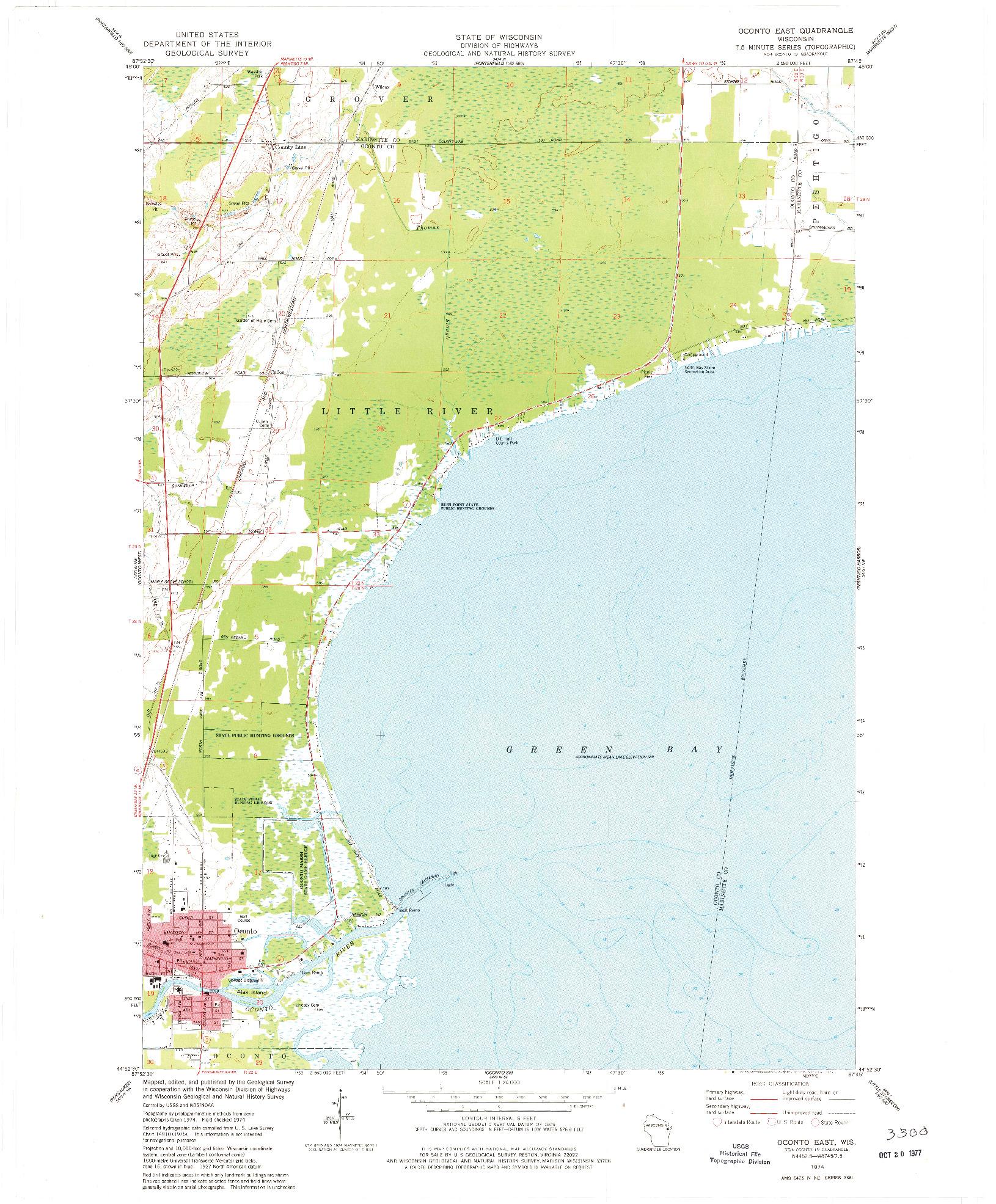 USGS 1:24000-SCALE QUADRANGLE FOR OCONTO EAST, WI 1974
