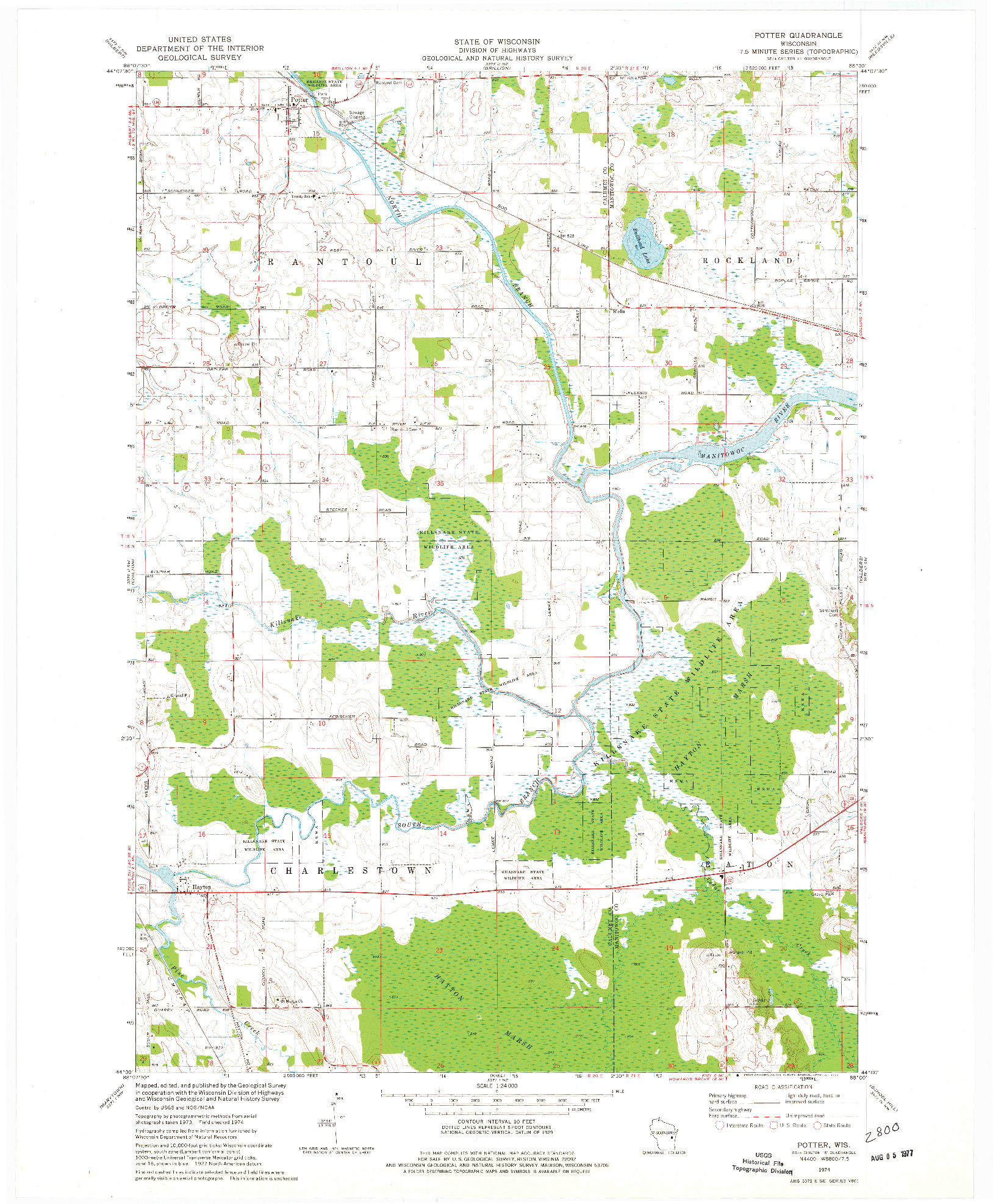 USGS 1:24000-SCALE QUADRANGLE FOR POTTER, WI 1974