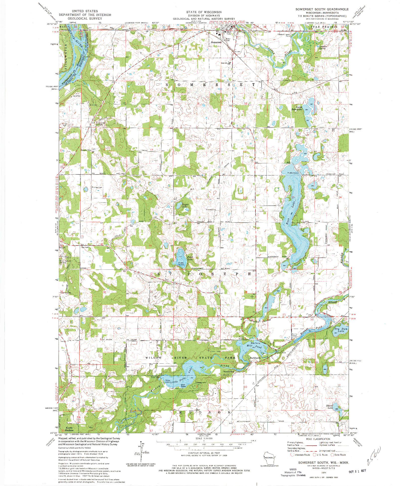 USGS 1:24000-SCALE QUADRANGLE FOR SOMERSET SOUTH, WI 1974