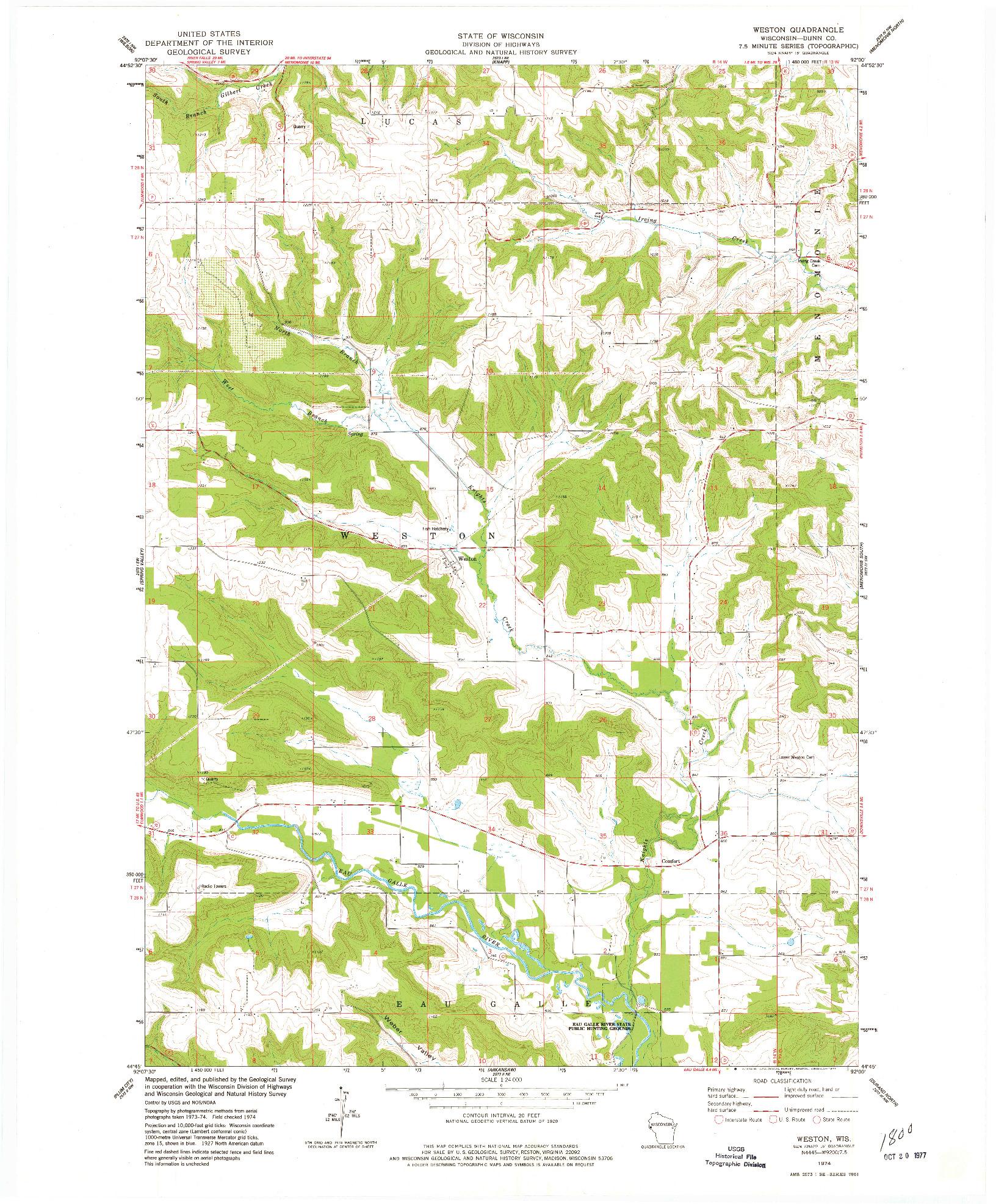 USGS 1:24000-SCALE QUADRANGLE FOR WESTON, WI 1974