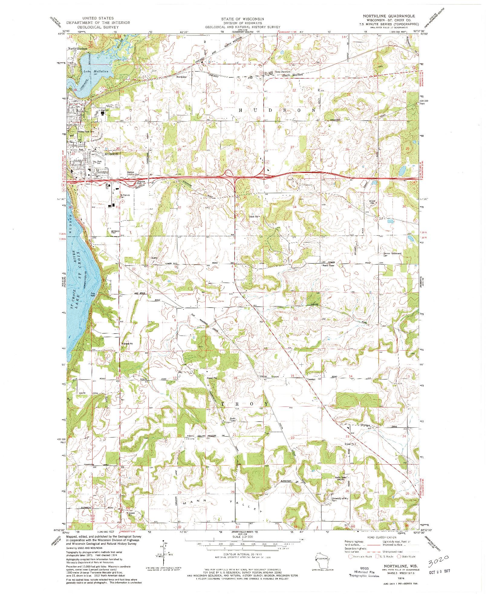 USGS 1:24000-SCALE QUADRANGLE FOR NORTHLINE, WI 1974