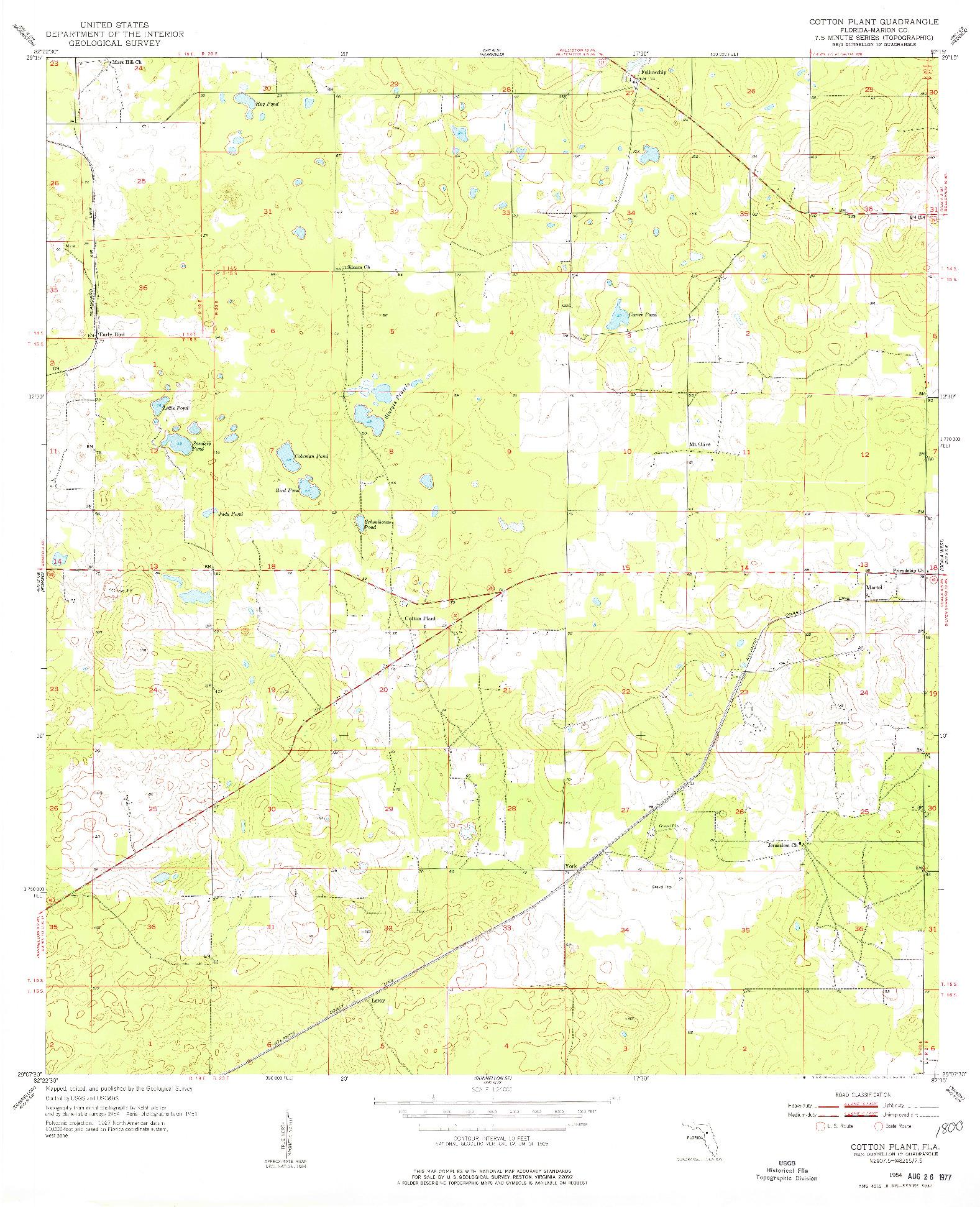 USGS 1:24000-SCALE QUADRANGLE FOR COTTON PLANT, FL 1954