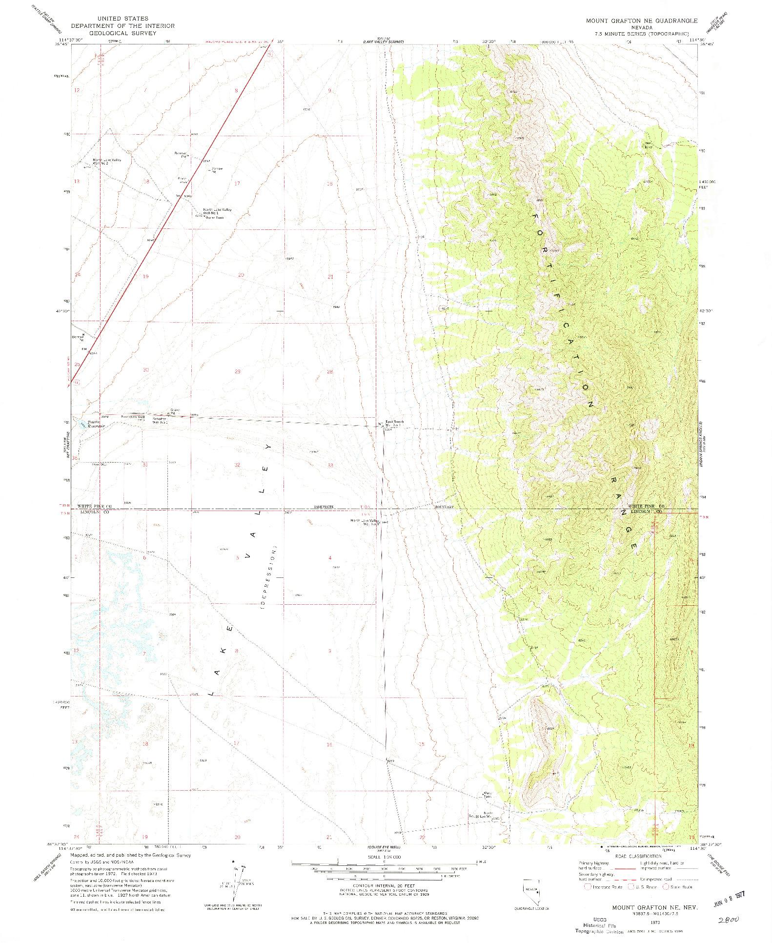 USGS 1:24000-SCALE QUADRANGLE FOR MOUNT GRAFTON NE, NV 1973