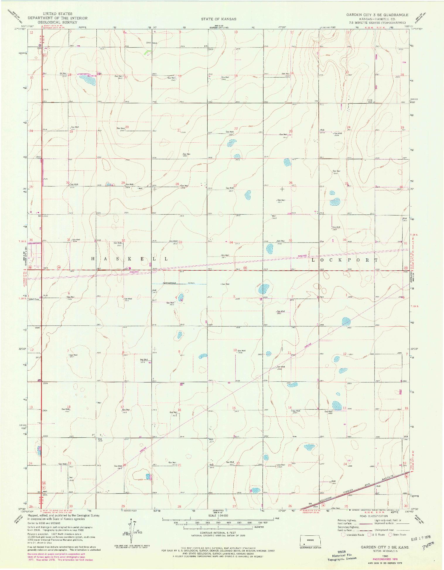 USGS 1:24000-SCALE QUADRANGLE FOR GARDEN CITY 3 SE, KS 1960