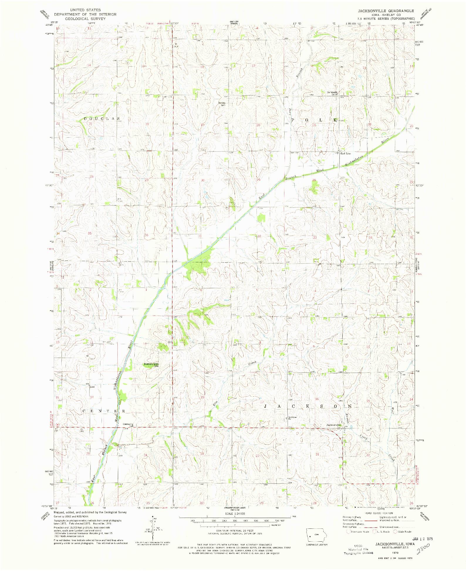 USGS 1:24000-SCALE QUADRANGLE FOR JACKSONVILLE, IA 1978