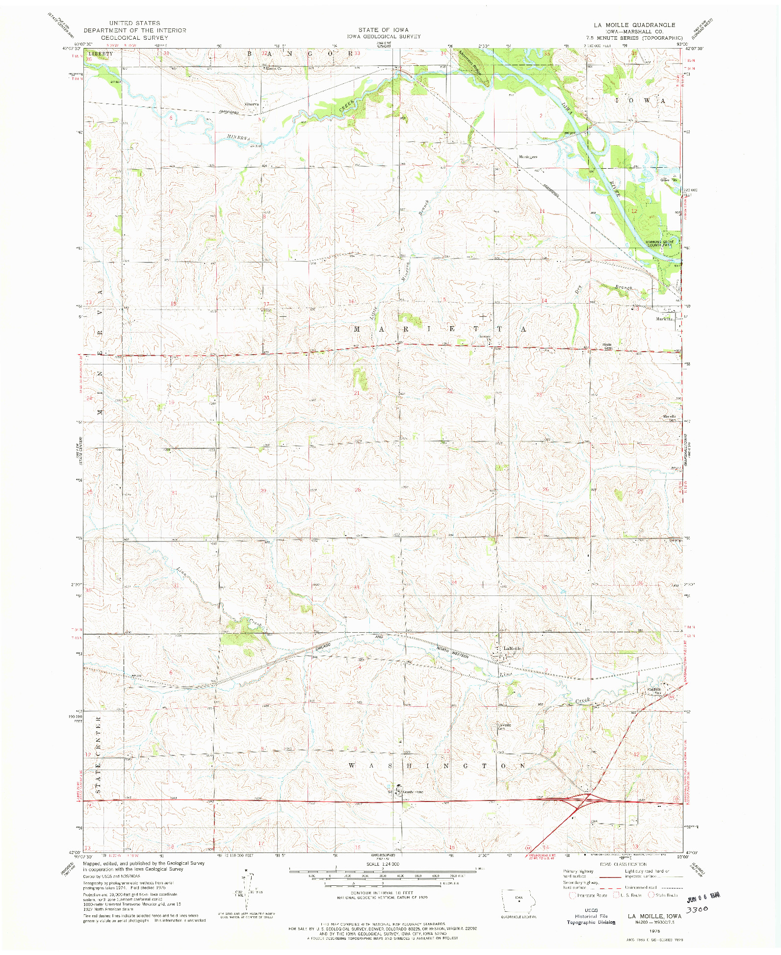 USGS 1:24000-SCALE QUADRANGLE FOR LA MOILLE, IA 1975