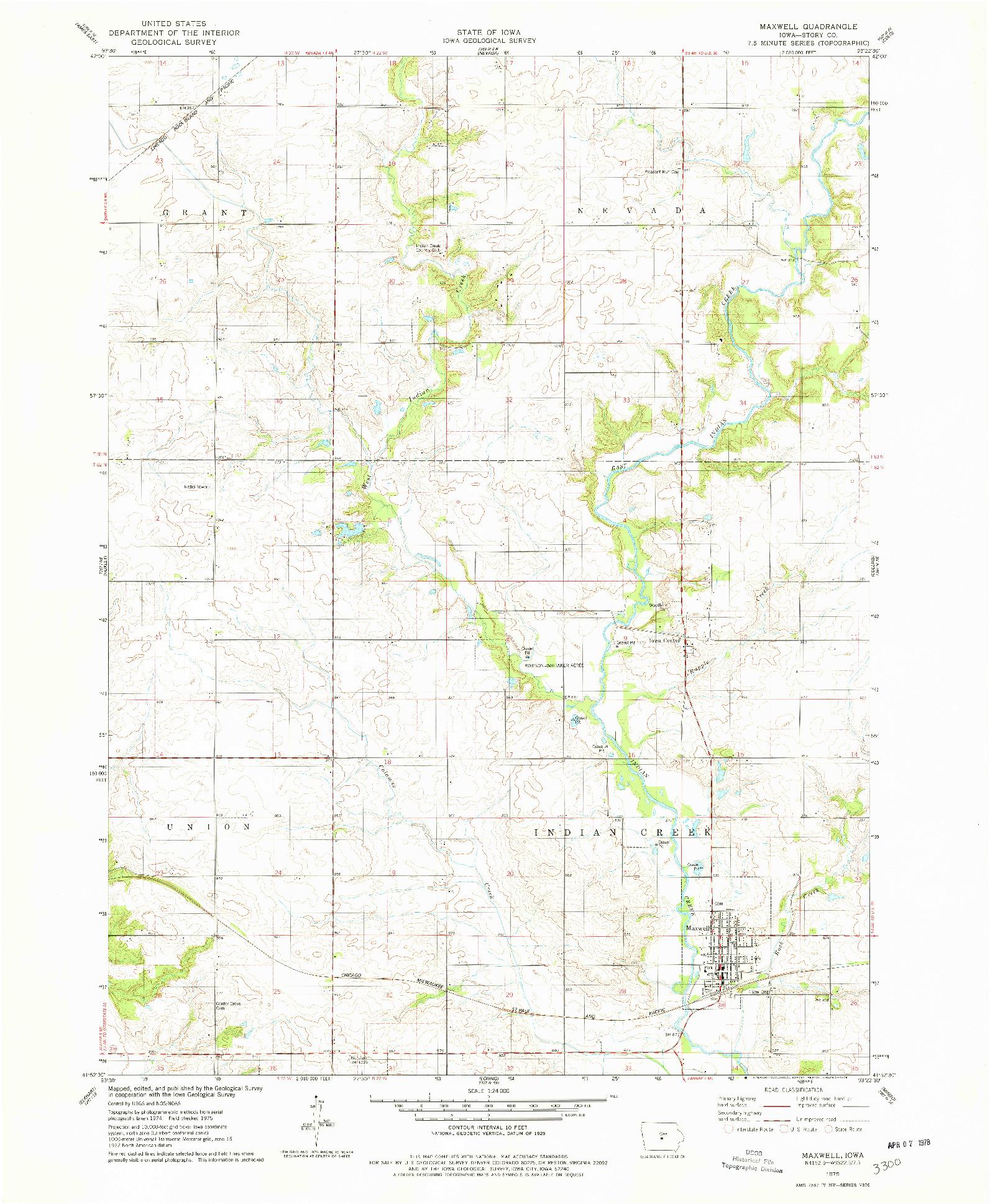 USGS 1:24000-SCALE QUADRANGLE FOR MAXWELL, IA 1975