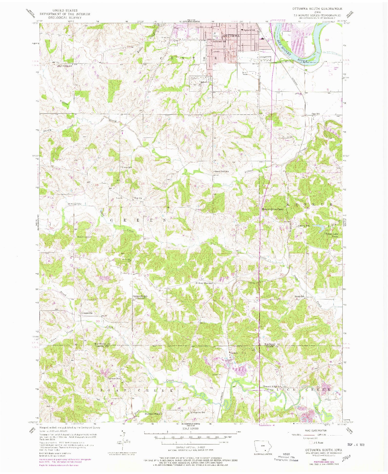 USGS 1:24000-SCALE QUADRANGLE FOR OTTUMWA SOUTH, IA 1956