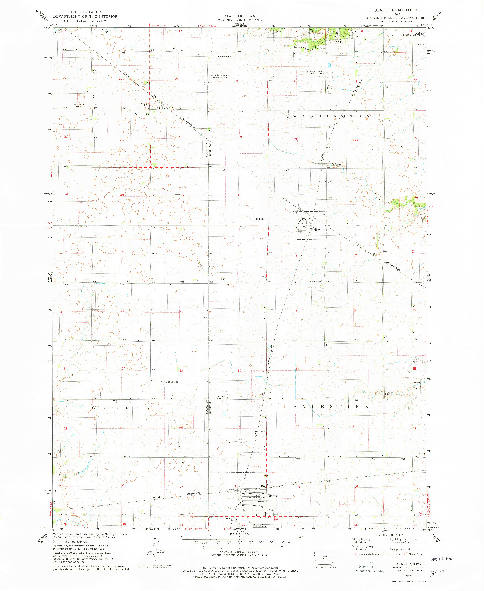 USGS 1:24000-SCALE QUADRANGLE FOR SLATER, IA 1975