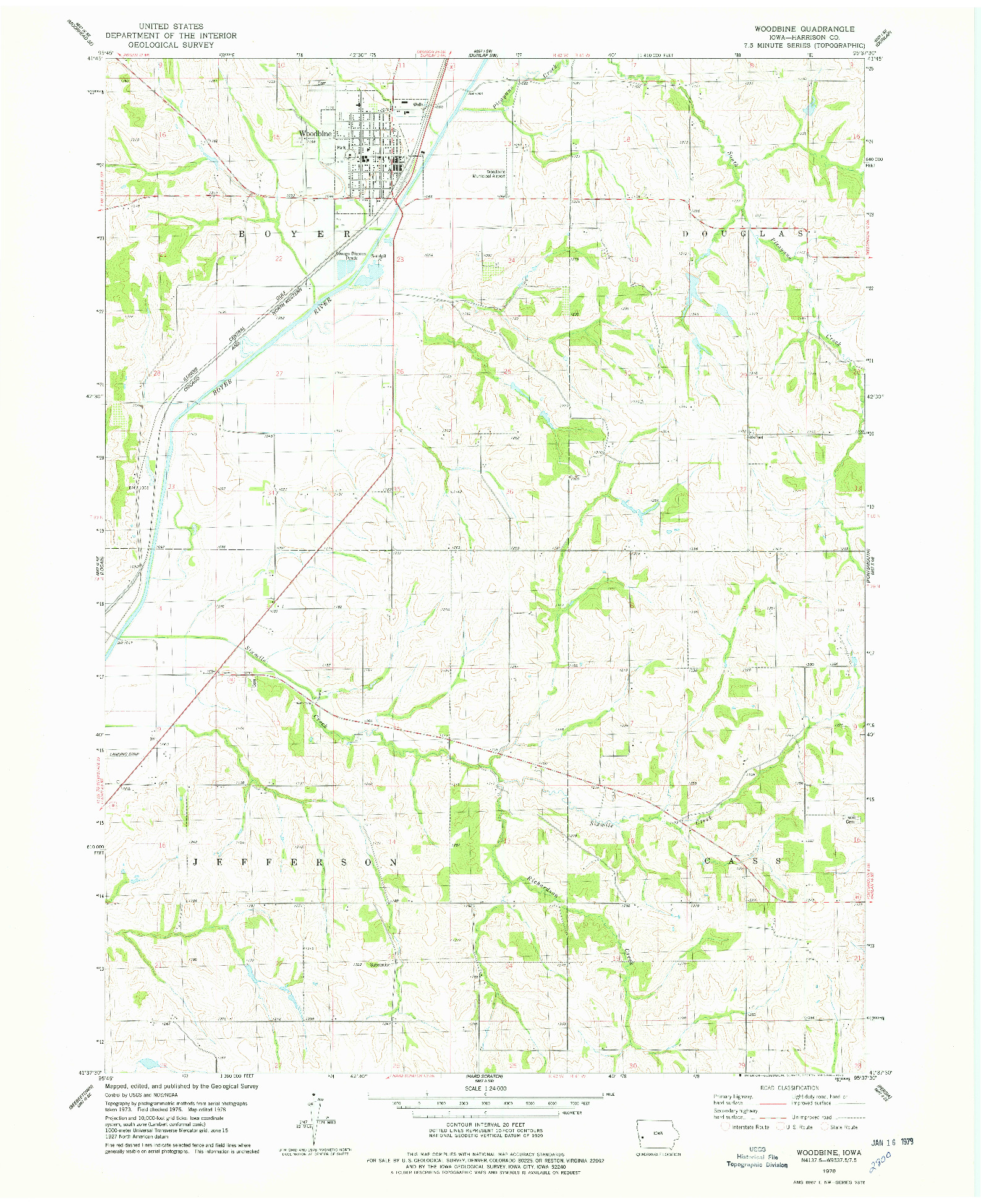 USGS 1:24000-SCALE QUADRANGLE FOR WOODBINE, IA 1978