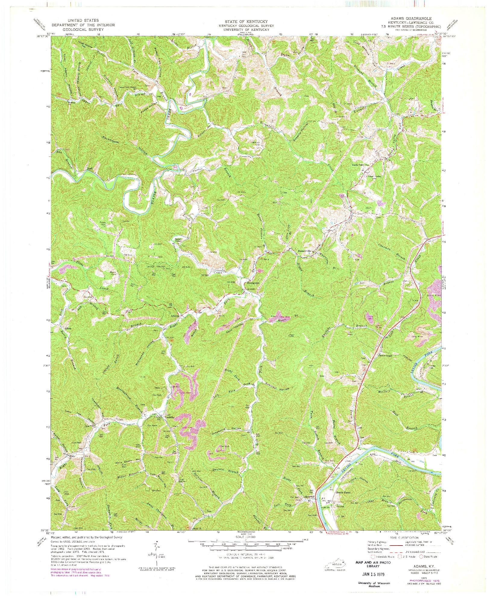USGS 1:24000-SCALE QUADRANGLE FOR ADAMS, KY 1971