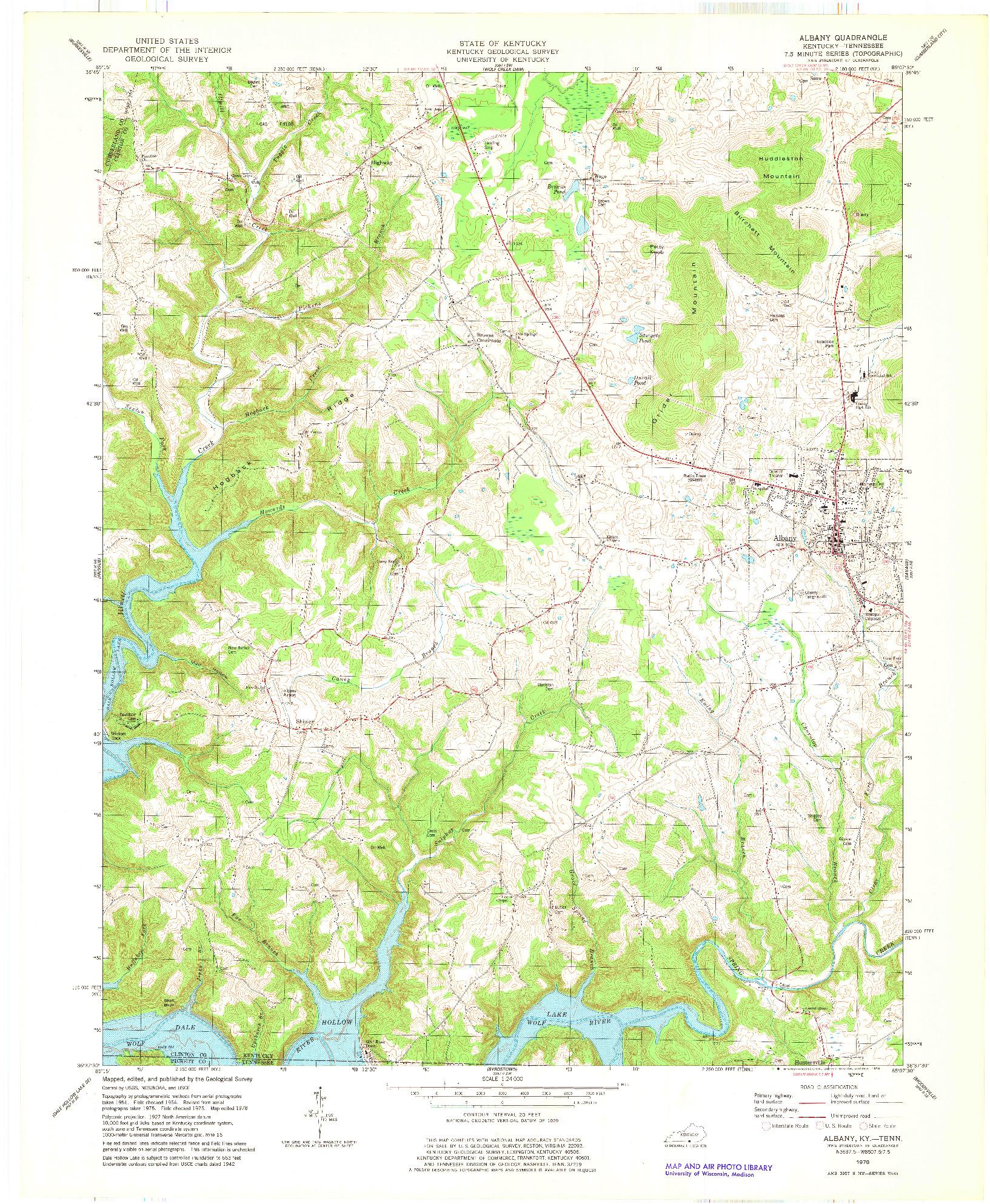 USGS 1:24000-SCALE QUADRANGLE FOR ALBANY, KY 1978