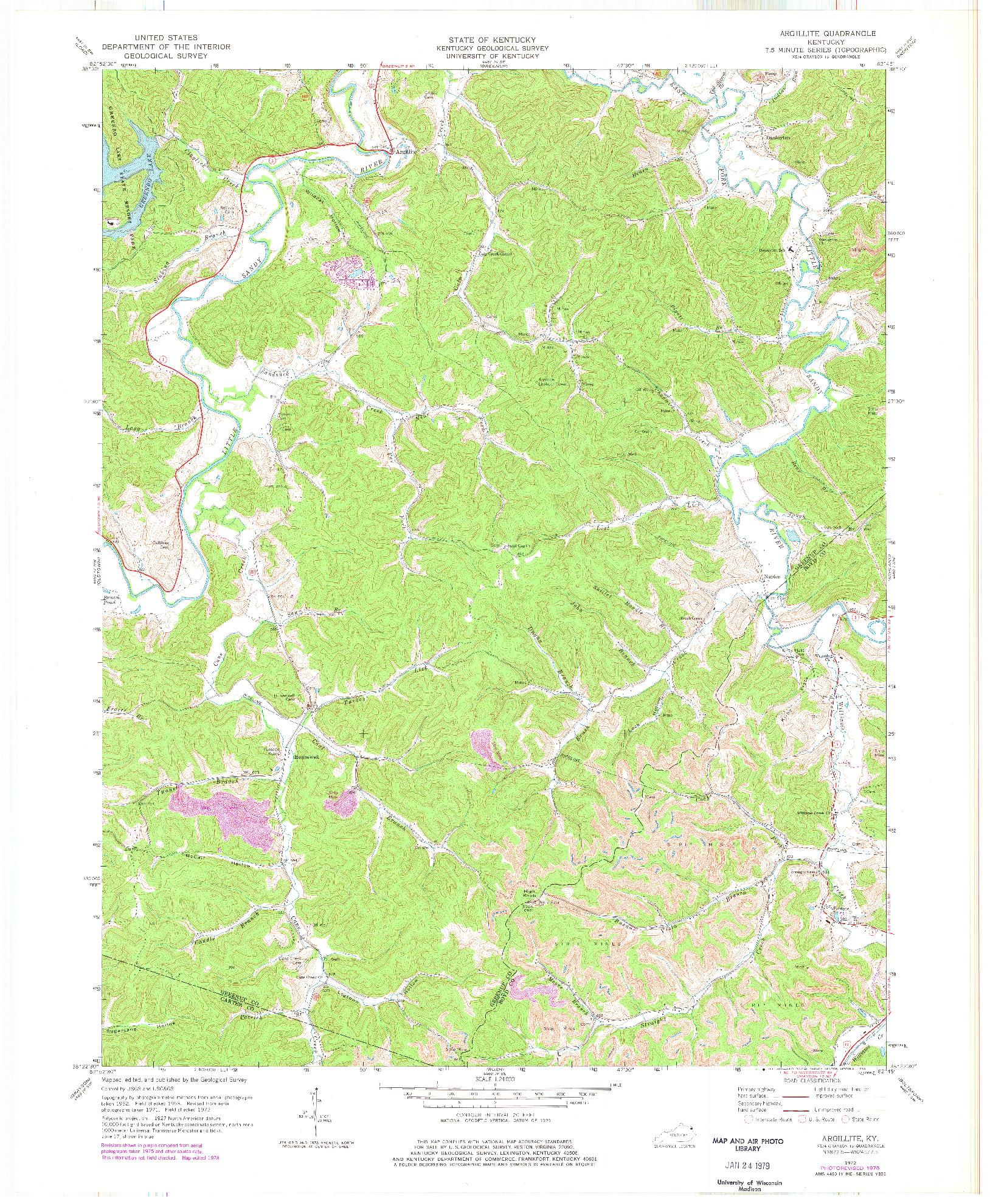 USGS 1:24000-SCALE QUADRANGLE FOR ARGILLITE, KY 1972