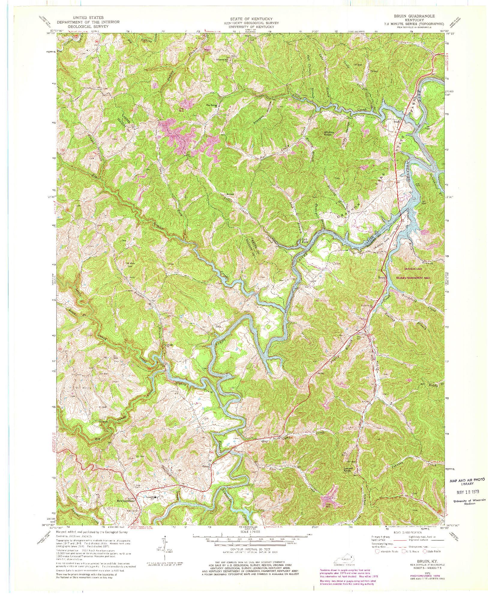 USGS 1:24000-SCALE QUADRANGLE FOR BRUIN, KY 1971
