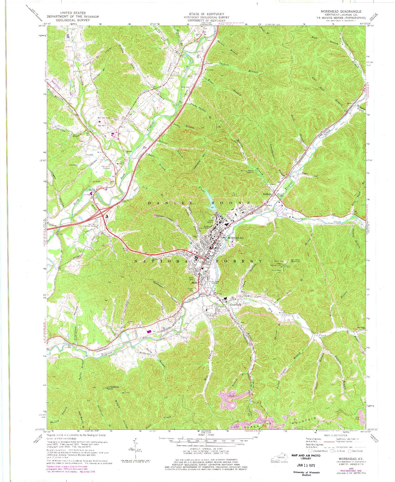 USGS 1:24000-SCALE QUADRANGLE FOR MOREHEAD, KY 1970