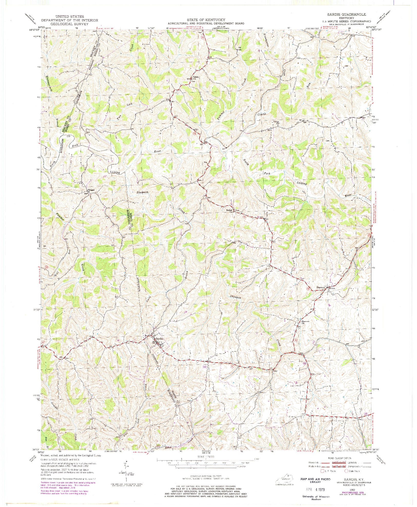 USGS 1:24000-SCALE QUADRANGLE FOR SARDIS, KY 1952