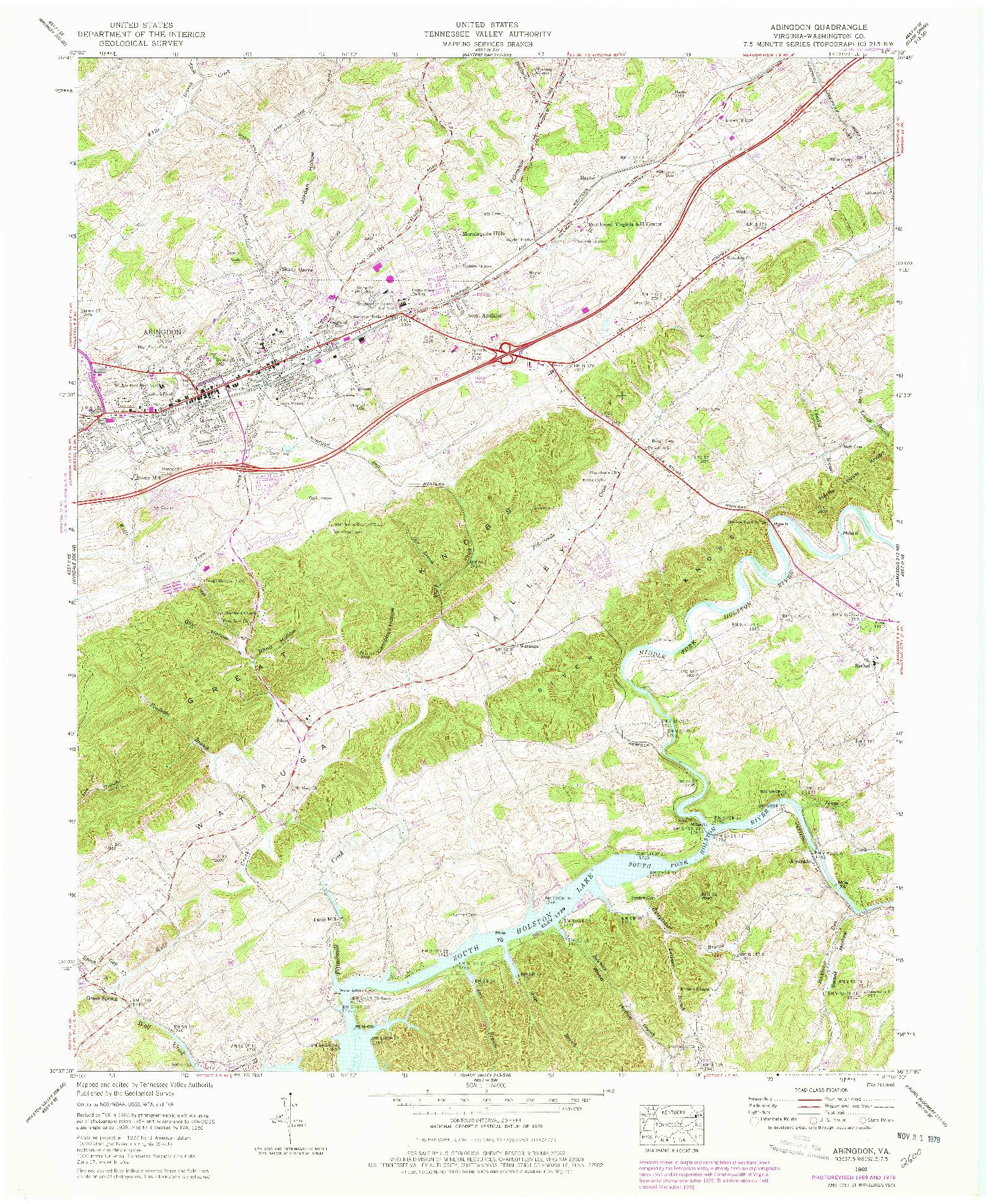 USGS 1:24000-SCALE QUADRANGLE FOR ABINGDON, VA 1960