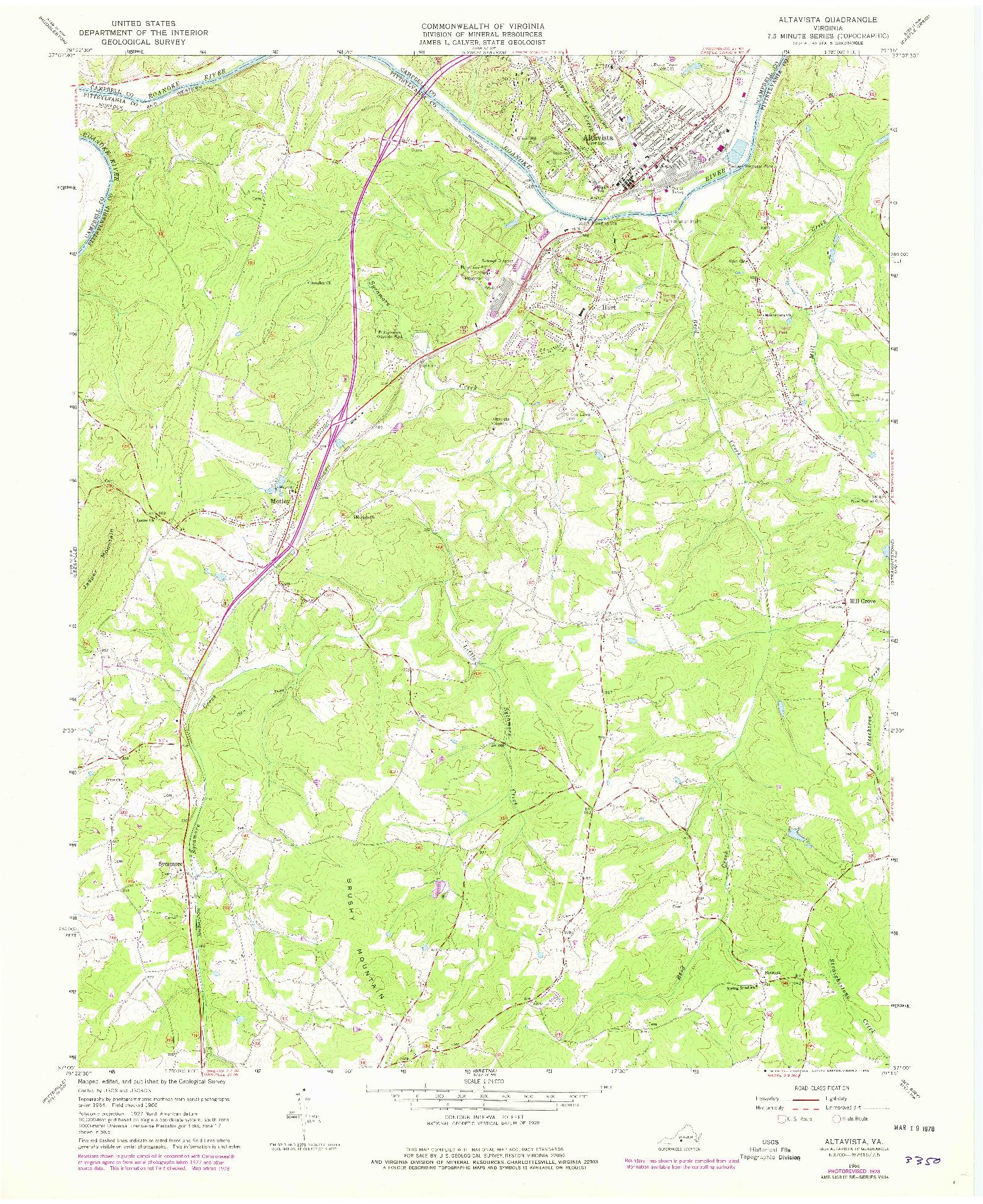 USGS 1:24000-SCALE QUADRANGLE FOR ALTAVISTA, VA 1966