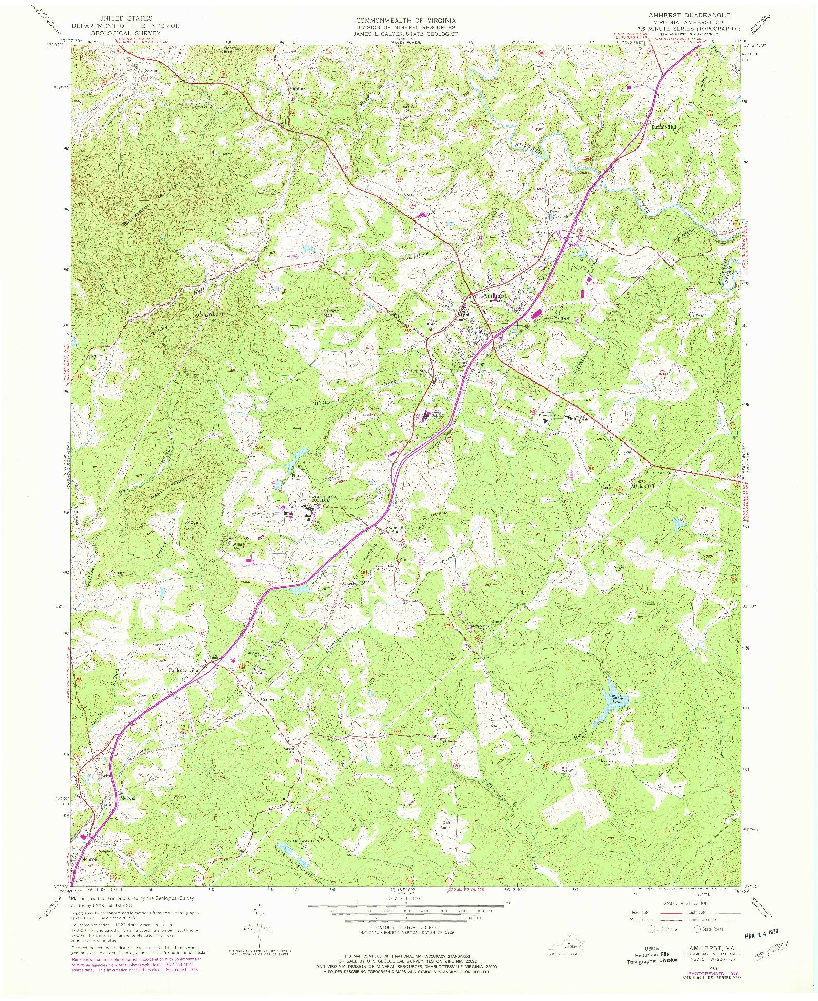USGS 1:24000-SCALE QUADRANGLE FOR AMHERST, VA 1963