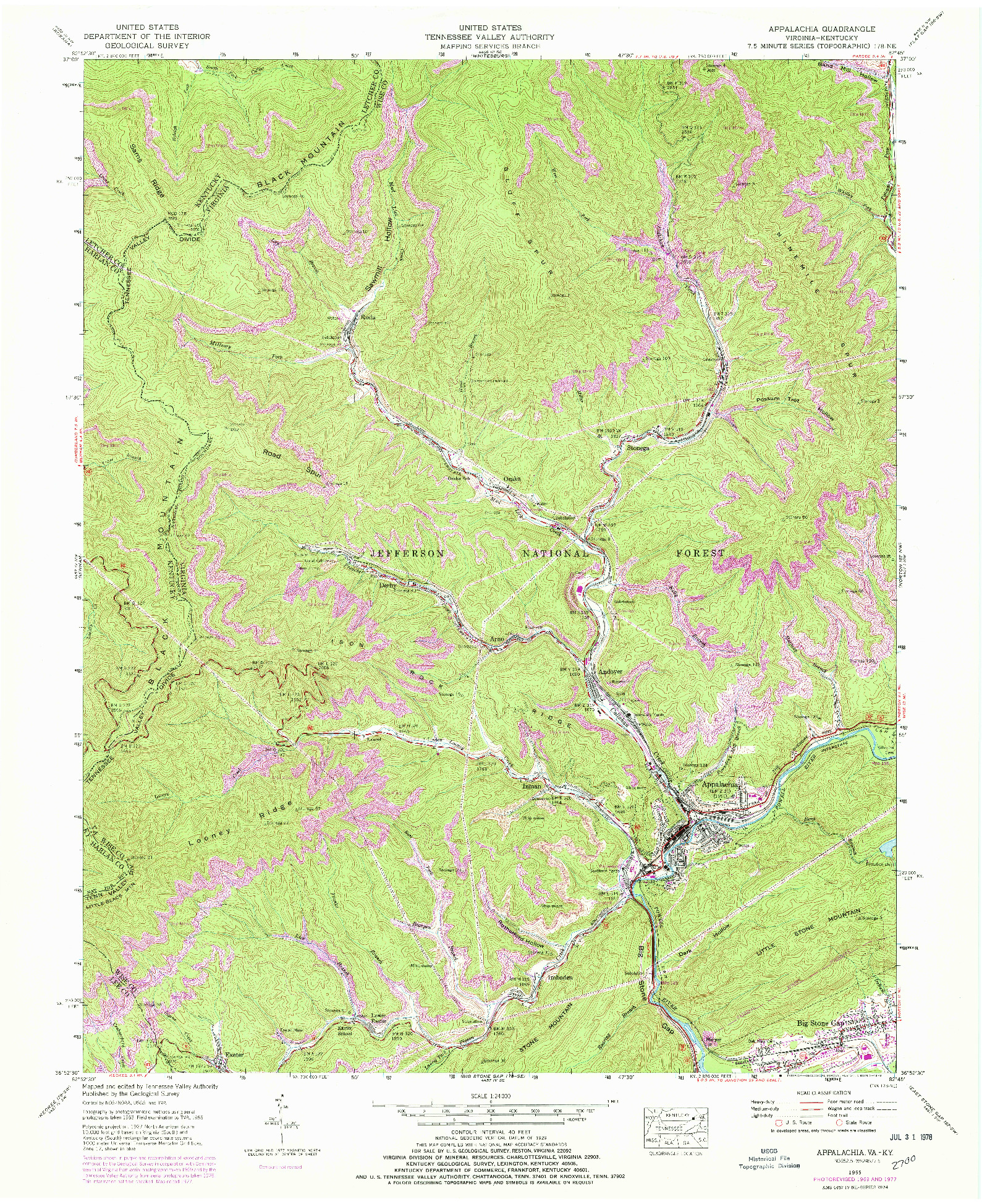 USGS 1:24000-SCALE QUADRANGLE FOR APPALACHIA, VA 1955