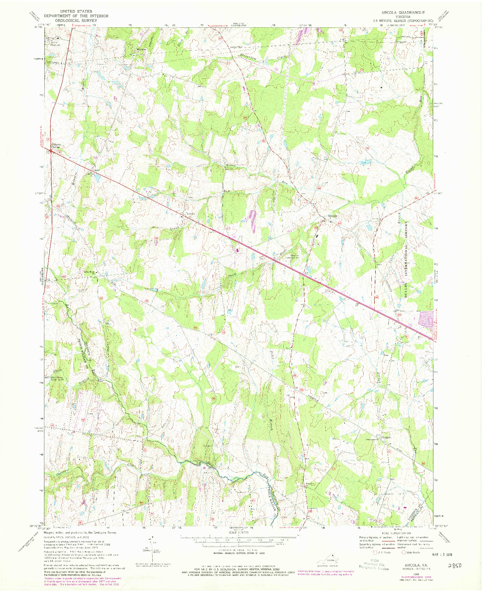 USGS 1:24000-SCALE QUADRANGLE FOR ARCOLA, VA 1968
