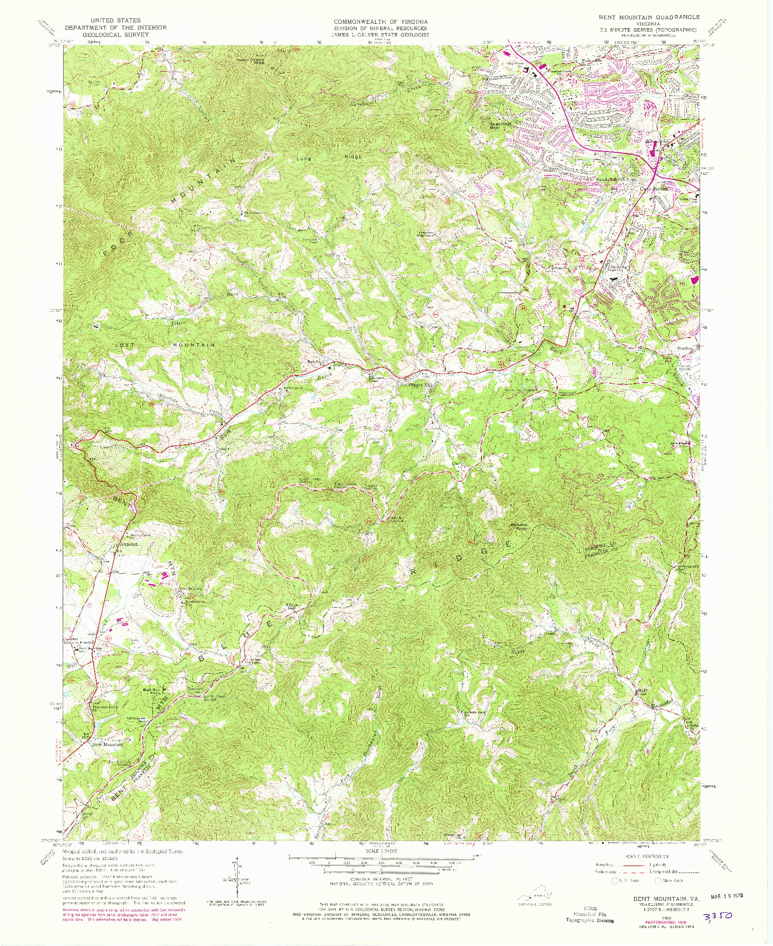 USGS 1:24000-SCALE QUADRANGLE FOR BENT MOUNTAIN, VA 1963