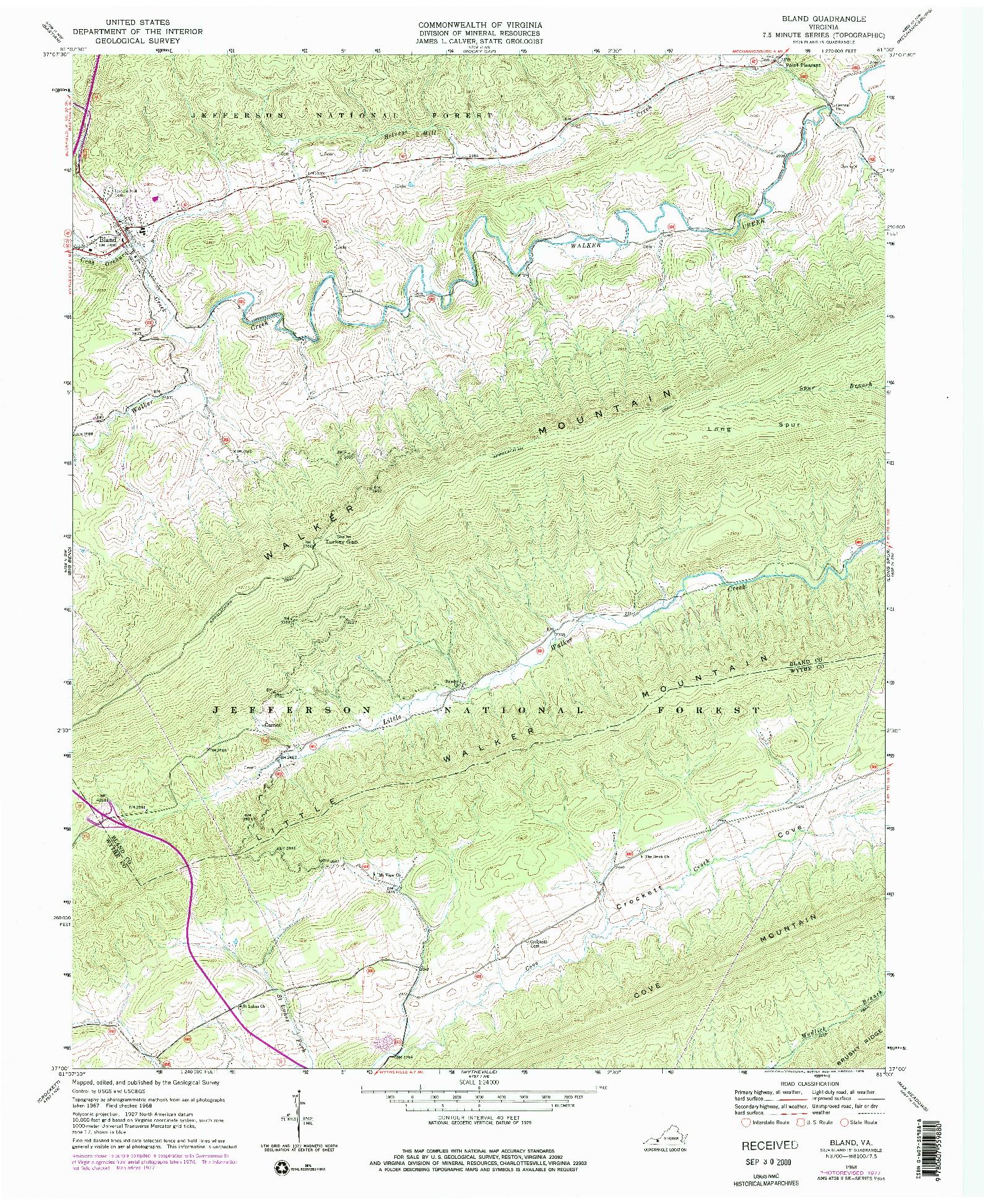 USGS 1:24000-SCALE QUADRANGLE FOR BLAND, VA 1968