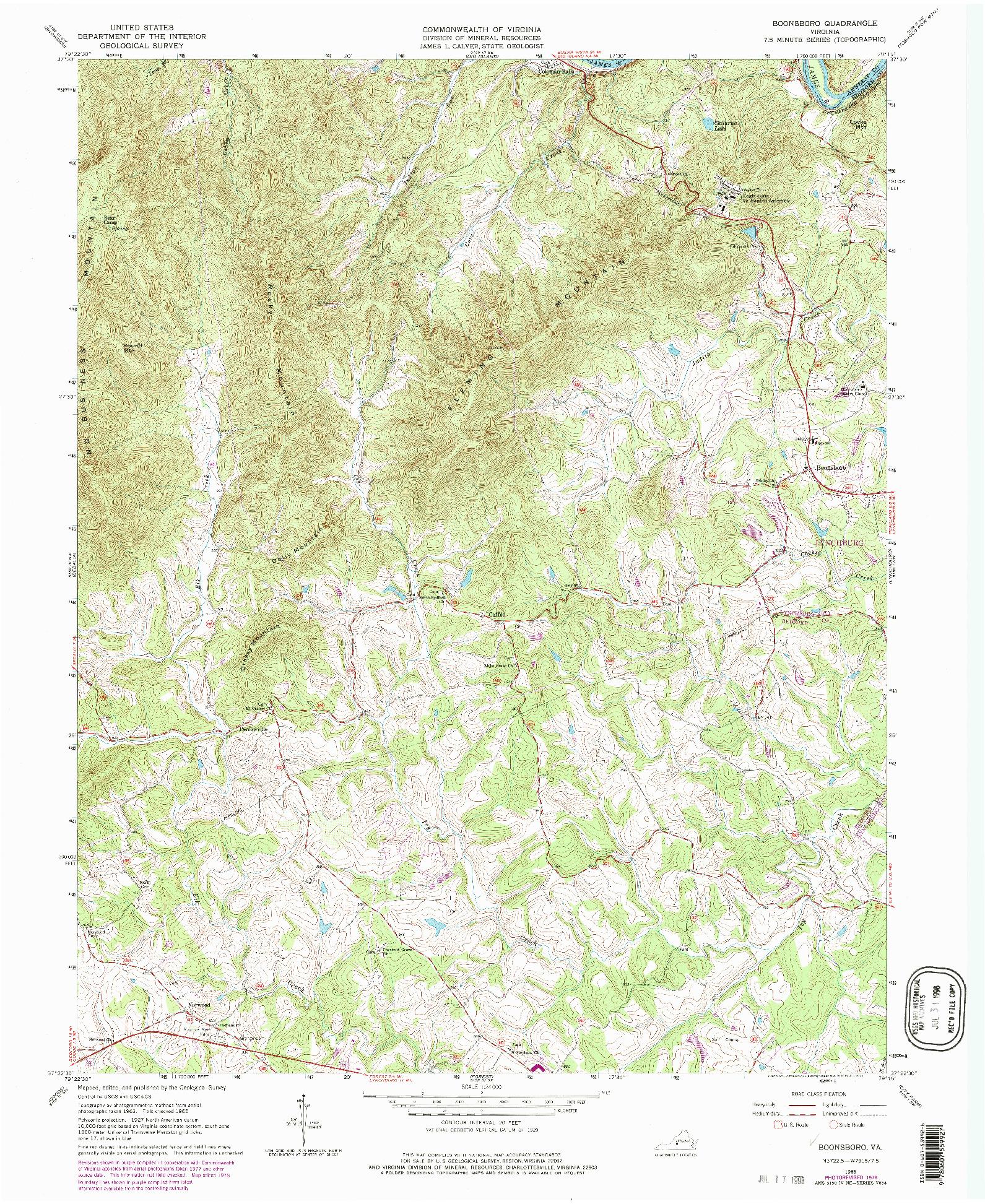 USGS 1:24000-SCALE QUADRANGLE FOR BOONSBORO, VA 1965