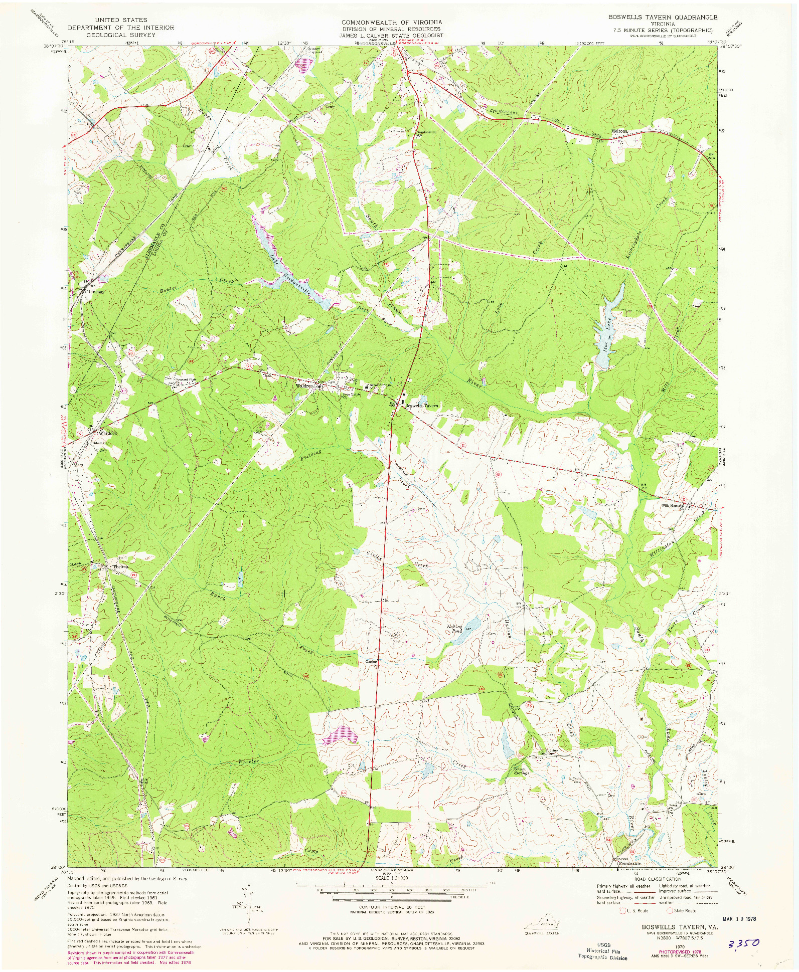 USGS 1:24000-SCALE QUADRANGLE FOR BOSWELLS TAVERN, VA 1970