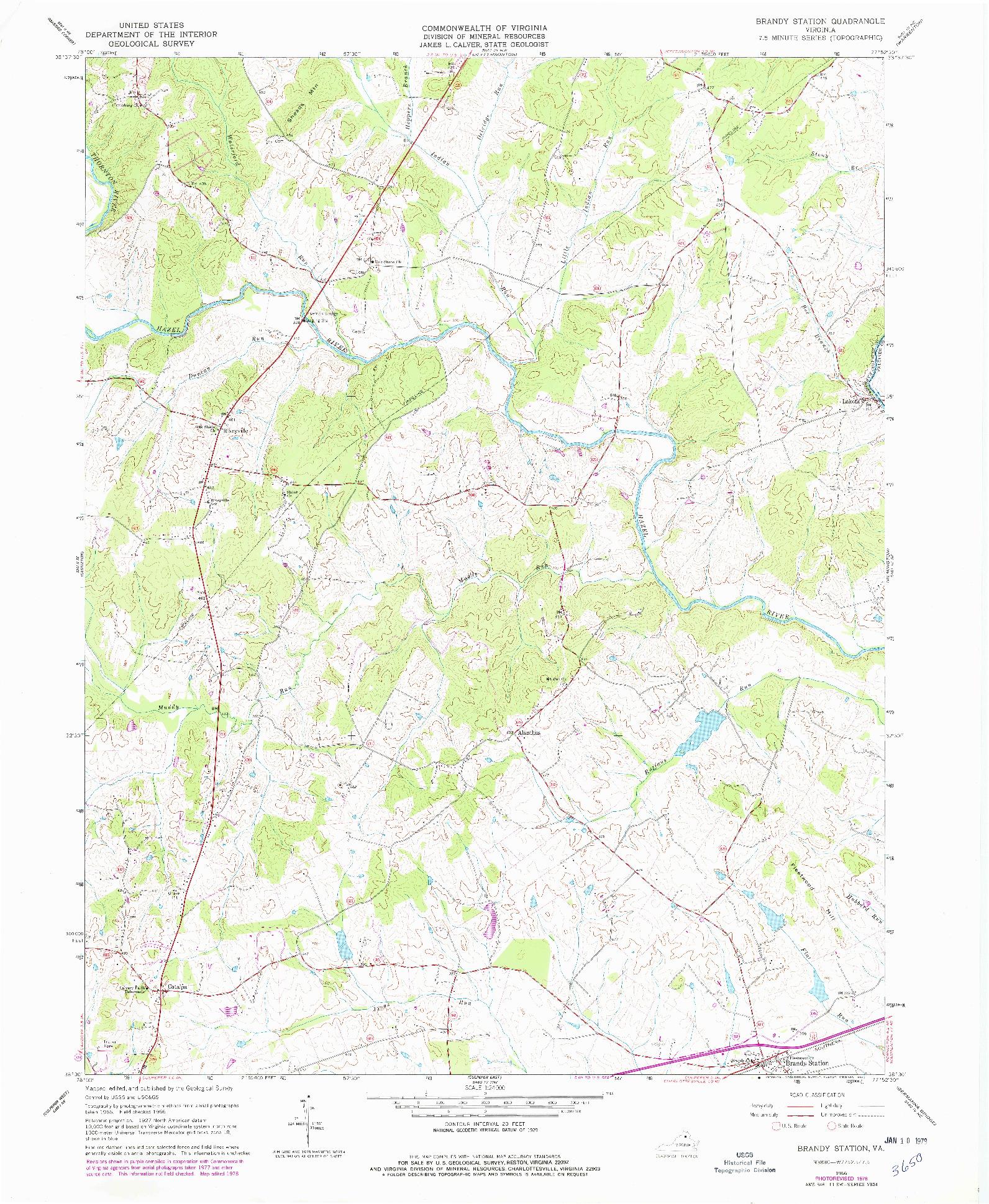 USGS 1:24000-SCALE QUADRANGLE FOR BRANDY STATION, VA 1966