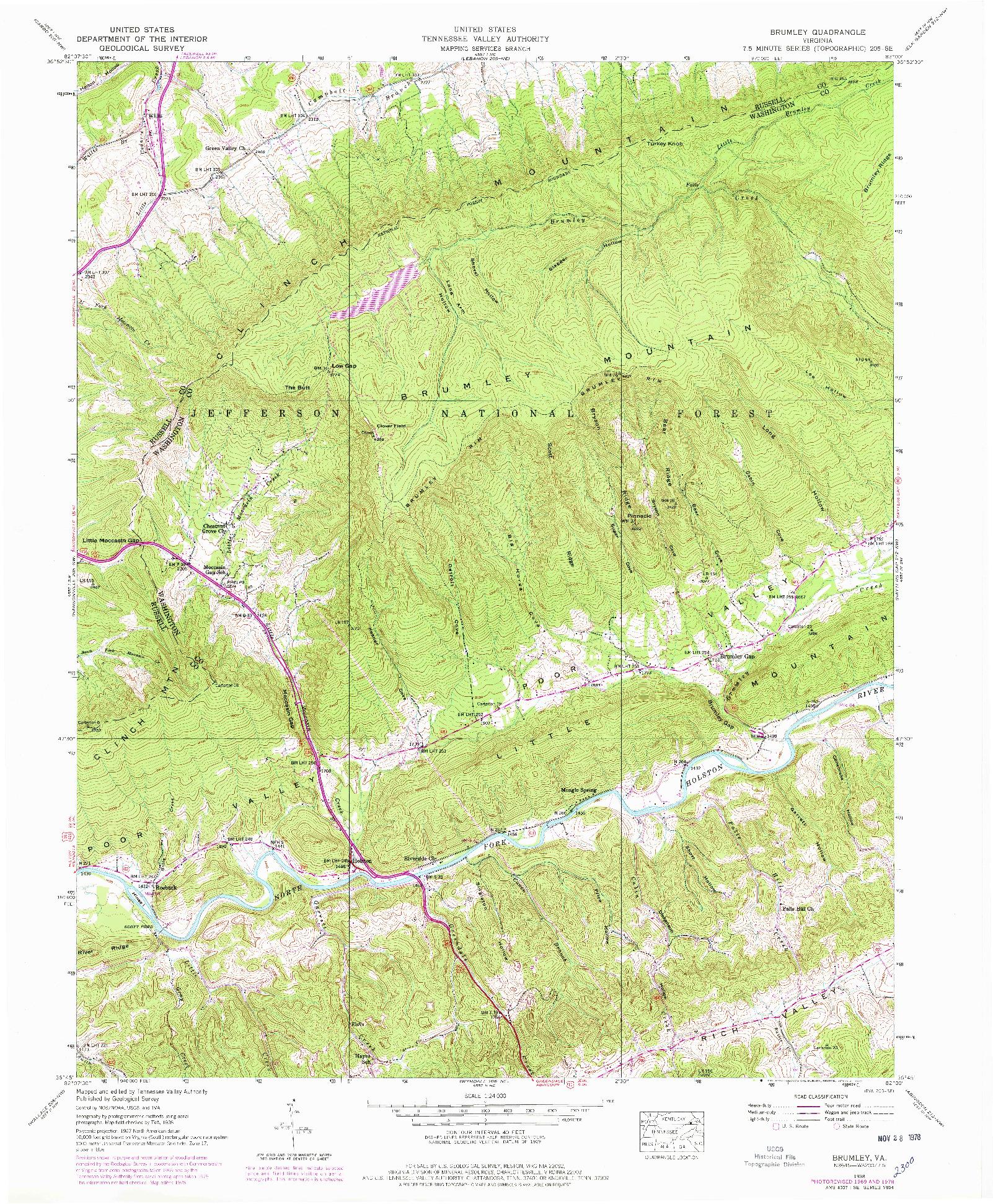 USGS 1:24000-SCALE QUADRANGLE FOR BRUMLEY, VA 1938