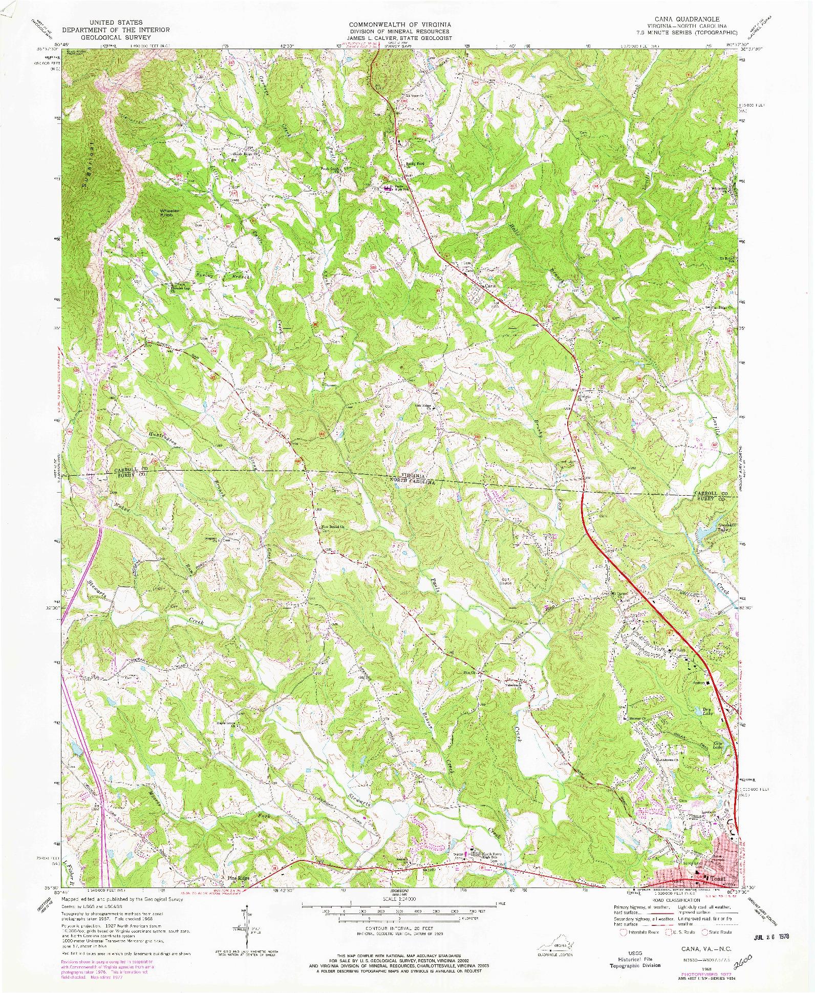 USGS 1:24000-SCALE QUADRANGLE FOR CANA, VA 1968