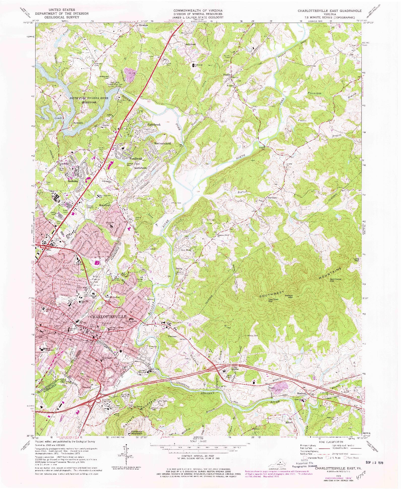 USGS 1:24000-SCALE QUADRANGLE FOR CHARLOTTESVILLE EAST, VA 1973