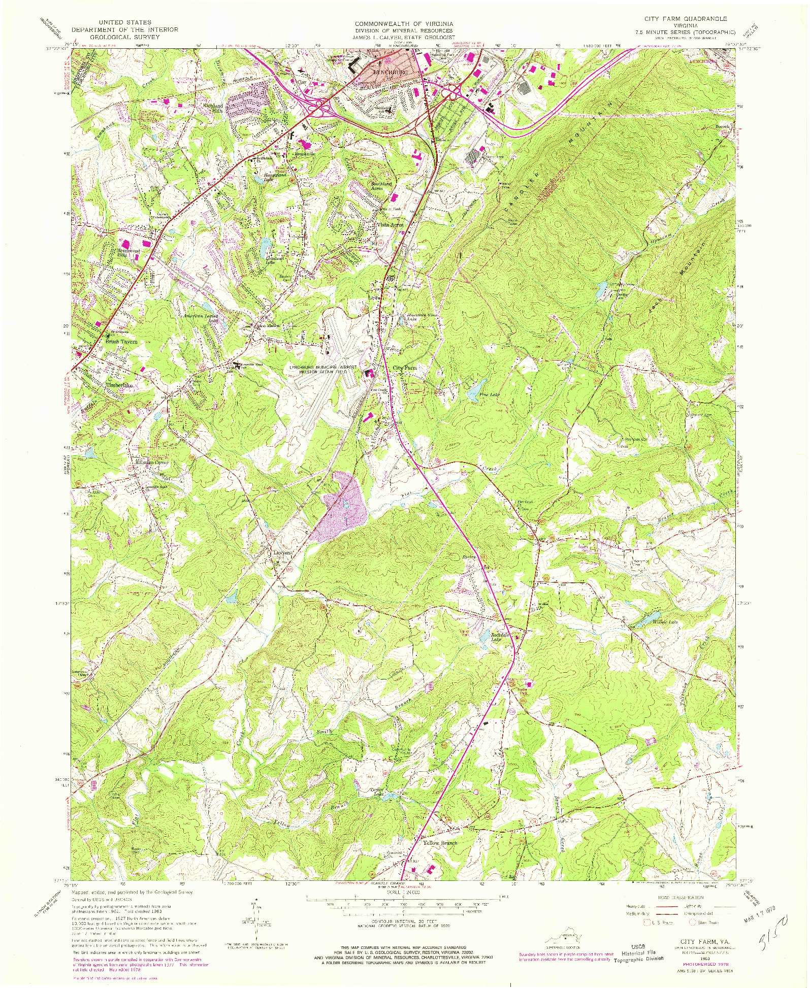USGS 1:24000-SCALE QUADRANGLE FOR CITY FARM, VA 1963