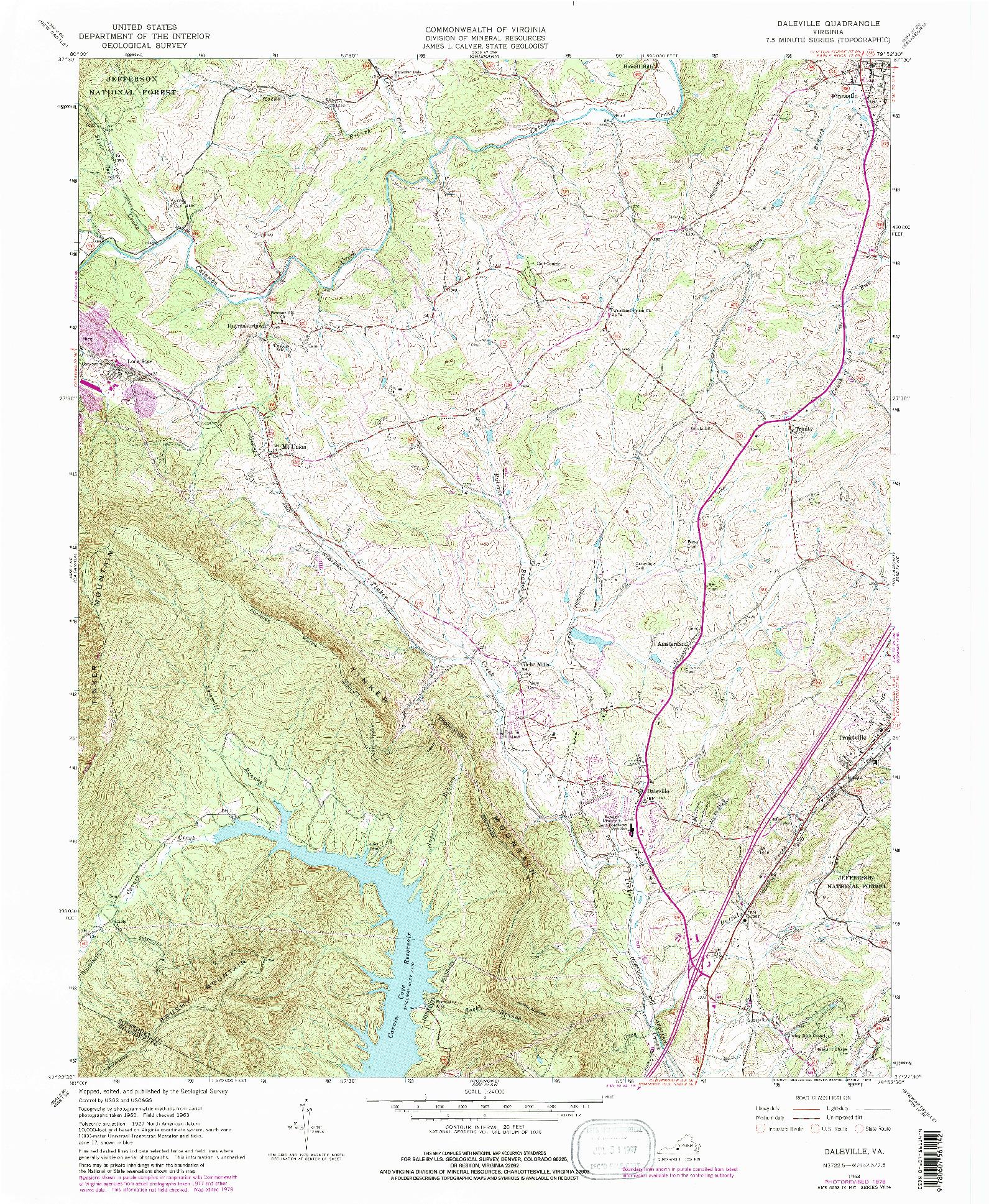USGS 1:24000-SCALE QUADRANGLE FOR DALEVILLE, VA 1963