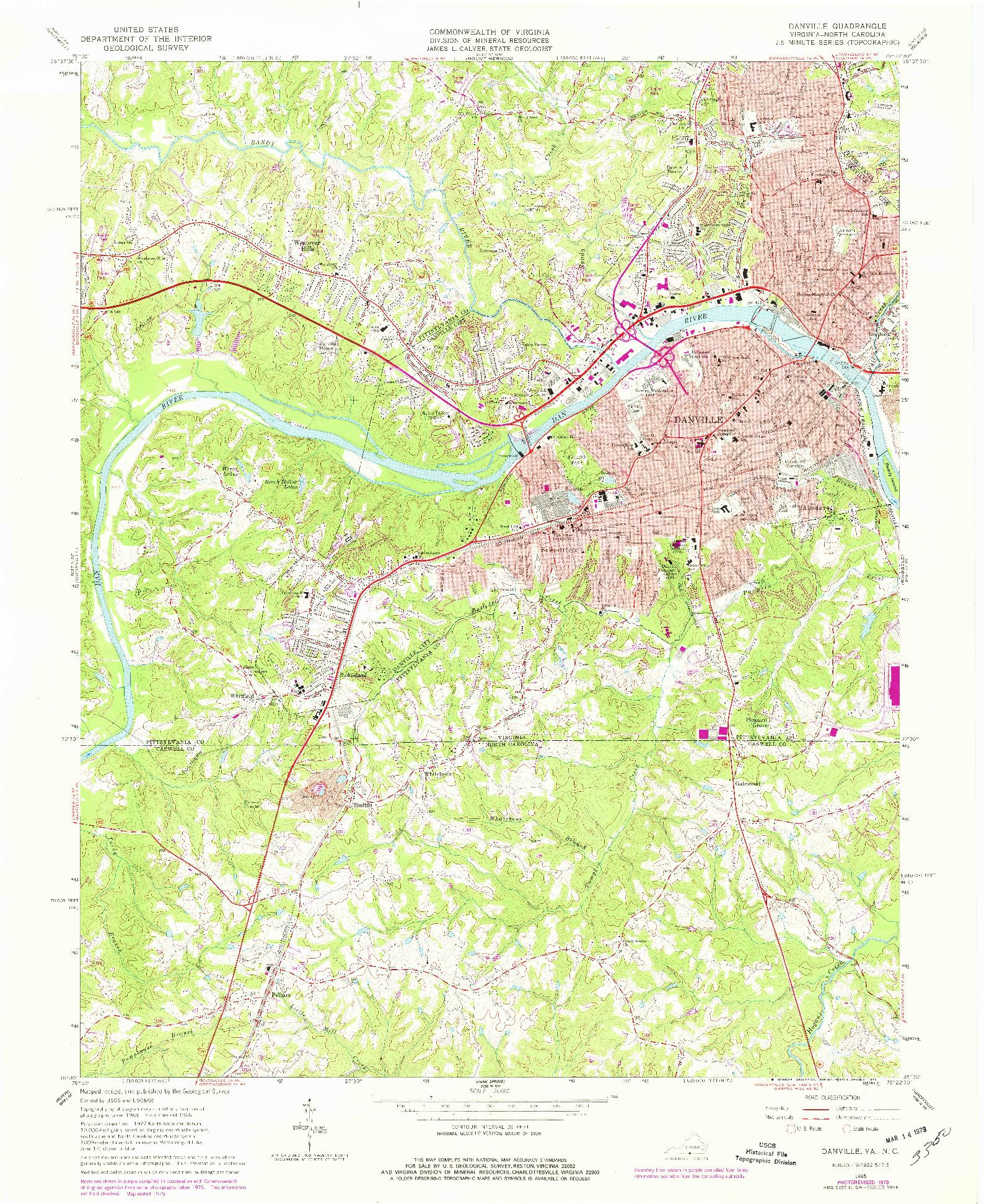 USGS 1:24000-SCALE QUADRANGLE FOR DANVILLE, VA 1965