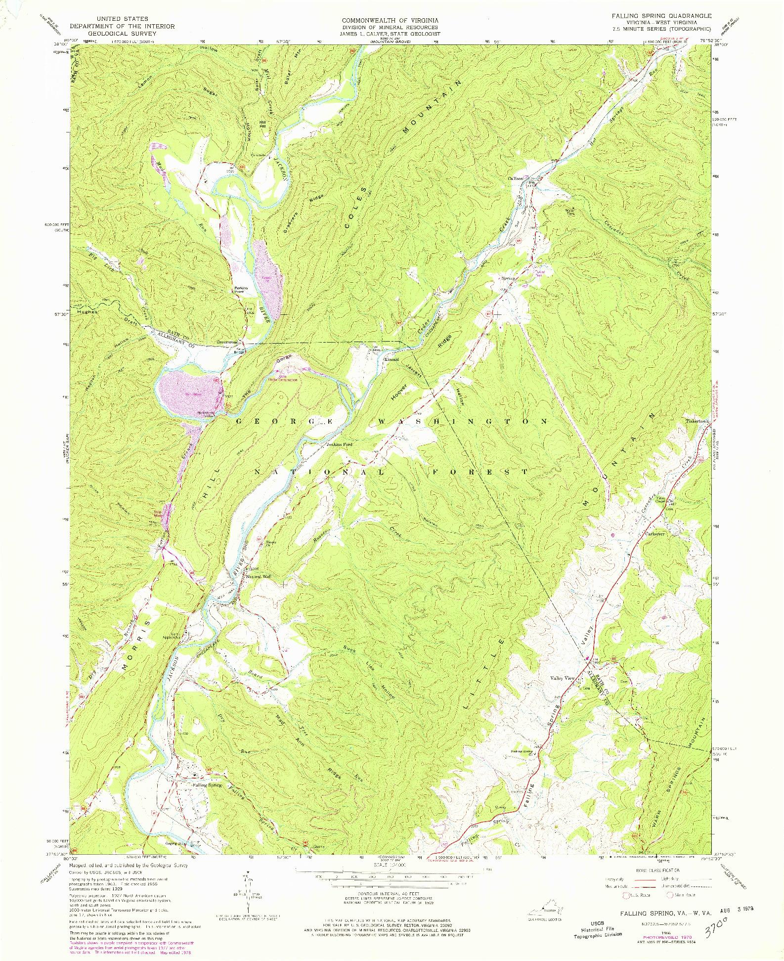 USGS 1:24000-SCALE QUADRANGLE FOR FALLING SPRING, VA 1966