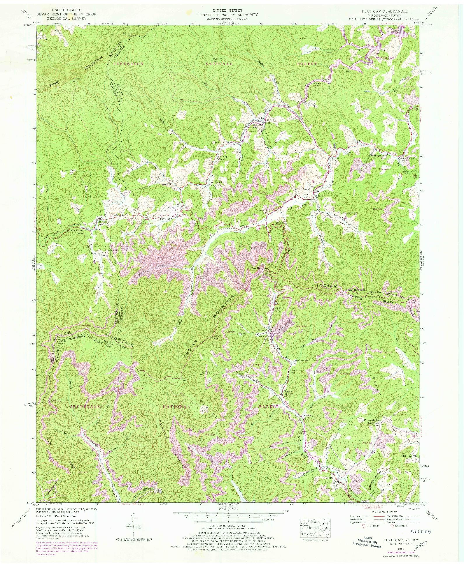 USGS 1:24000-SCALE QUADRANGLE FOR FLAT GAP, VA 1955