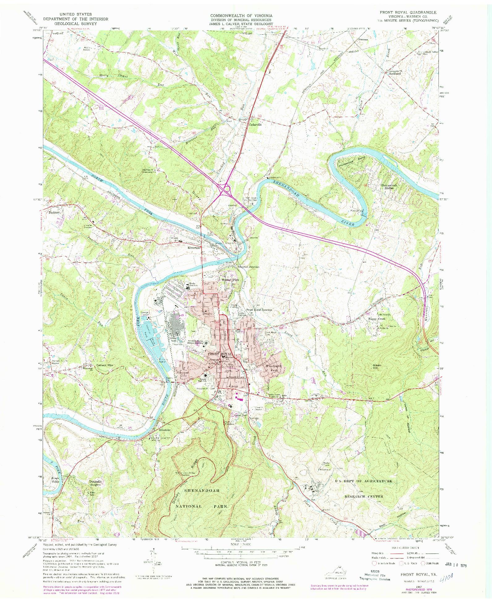 USGS 1:24000-SCALE QUADRANGLE FOR FRONT ROYAL, VA 1967