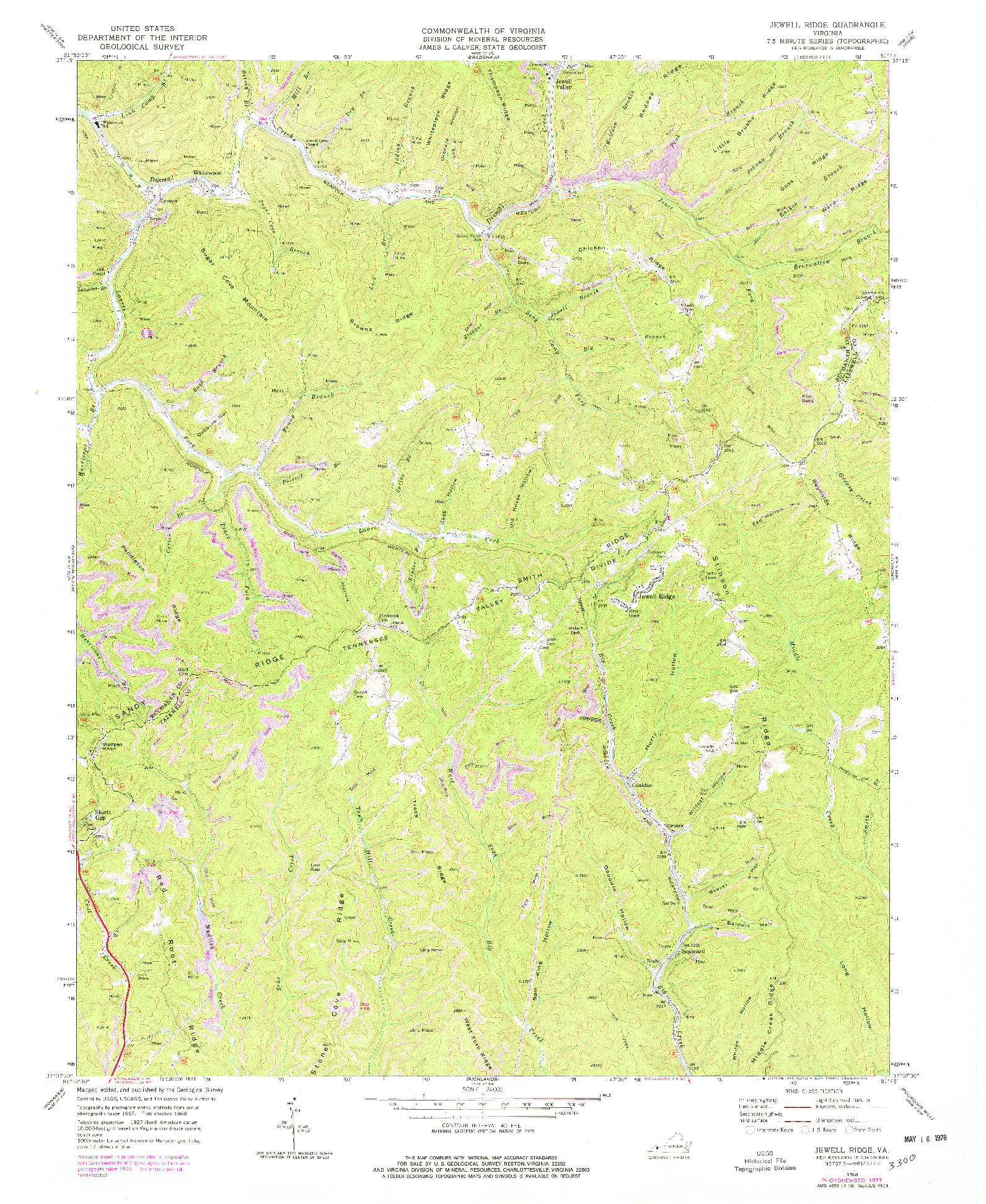 USGS 1:24000-SCALE QUADRANGLE FOR JEWELL RIDGE, VA 1968