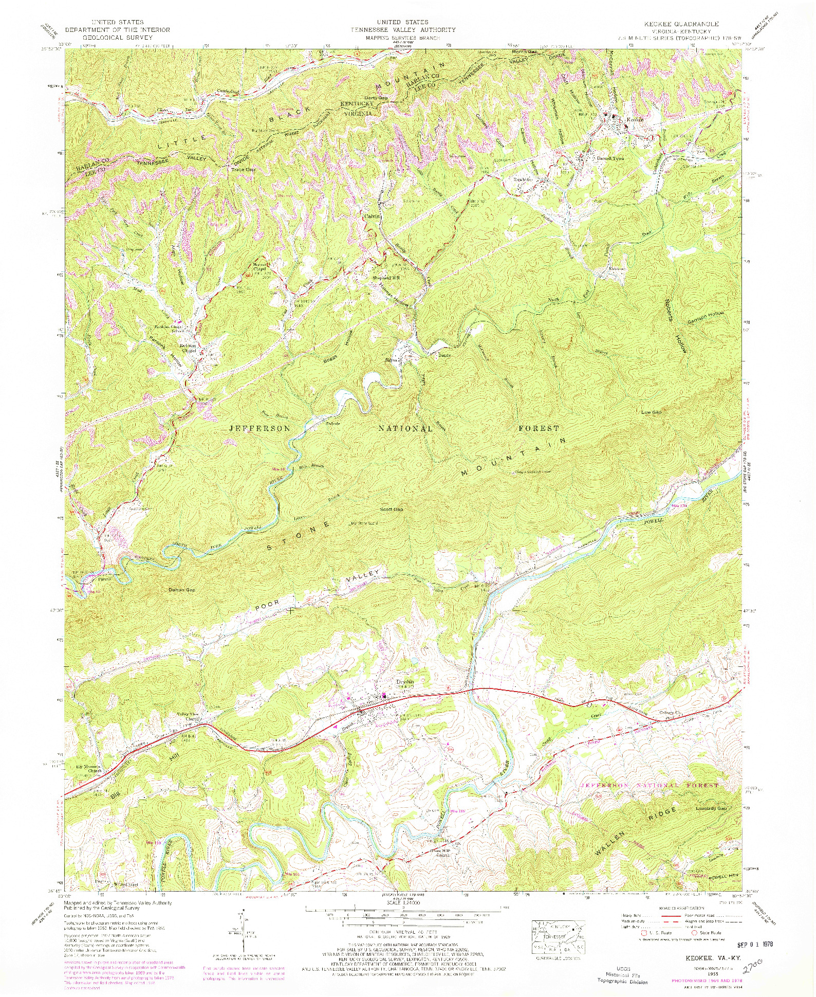 USGS 1:24000-SCALE QUADRANGLE FOR KEOKEE, VA 1955
