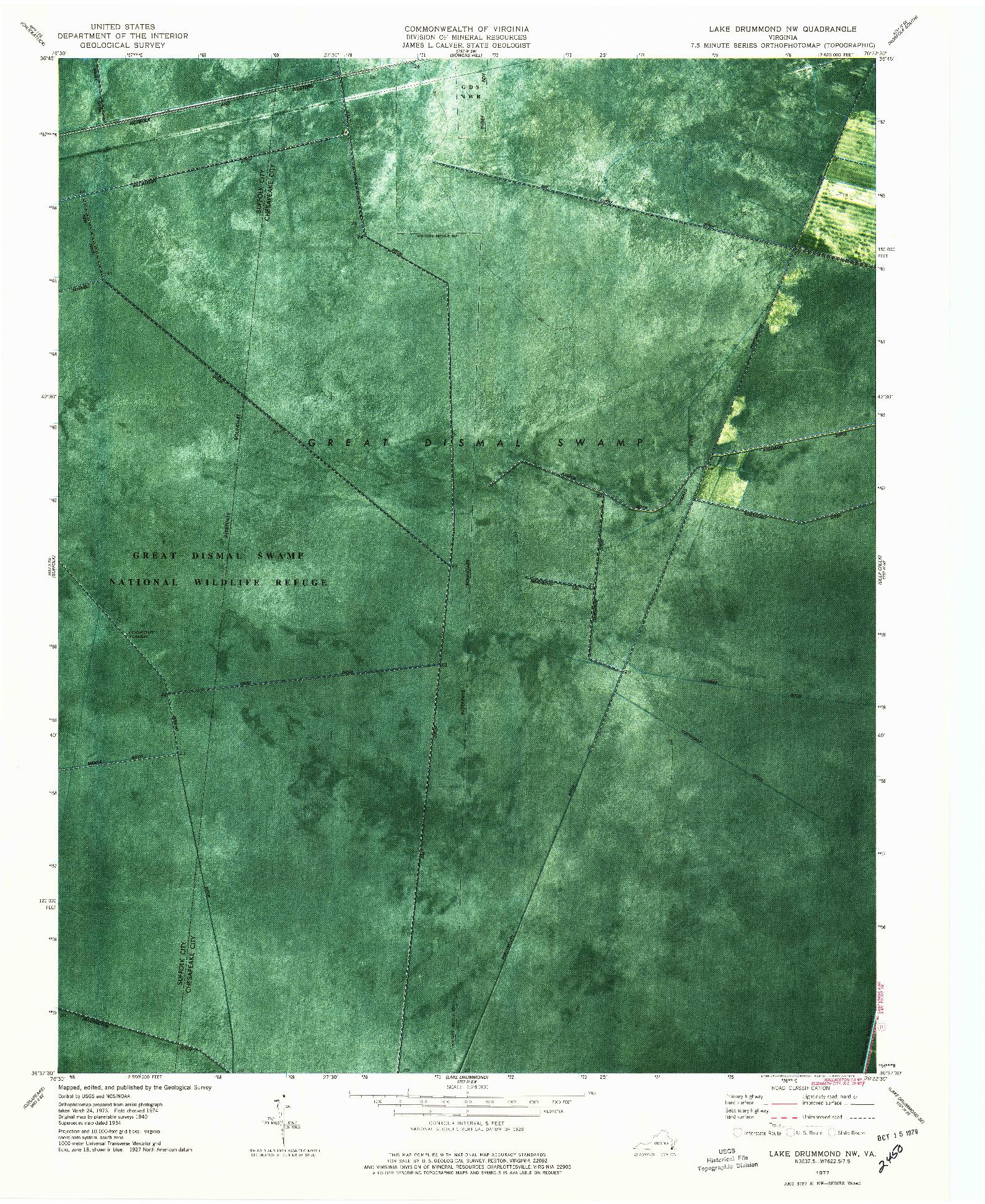 USGS 1:24000-SCALE QUADRANGLE FOR LAKE DRUMMOND NW, VA 1977